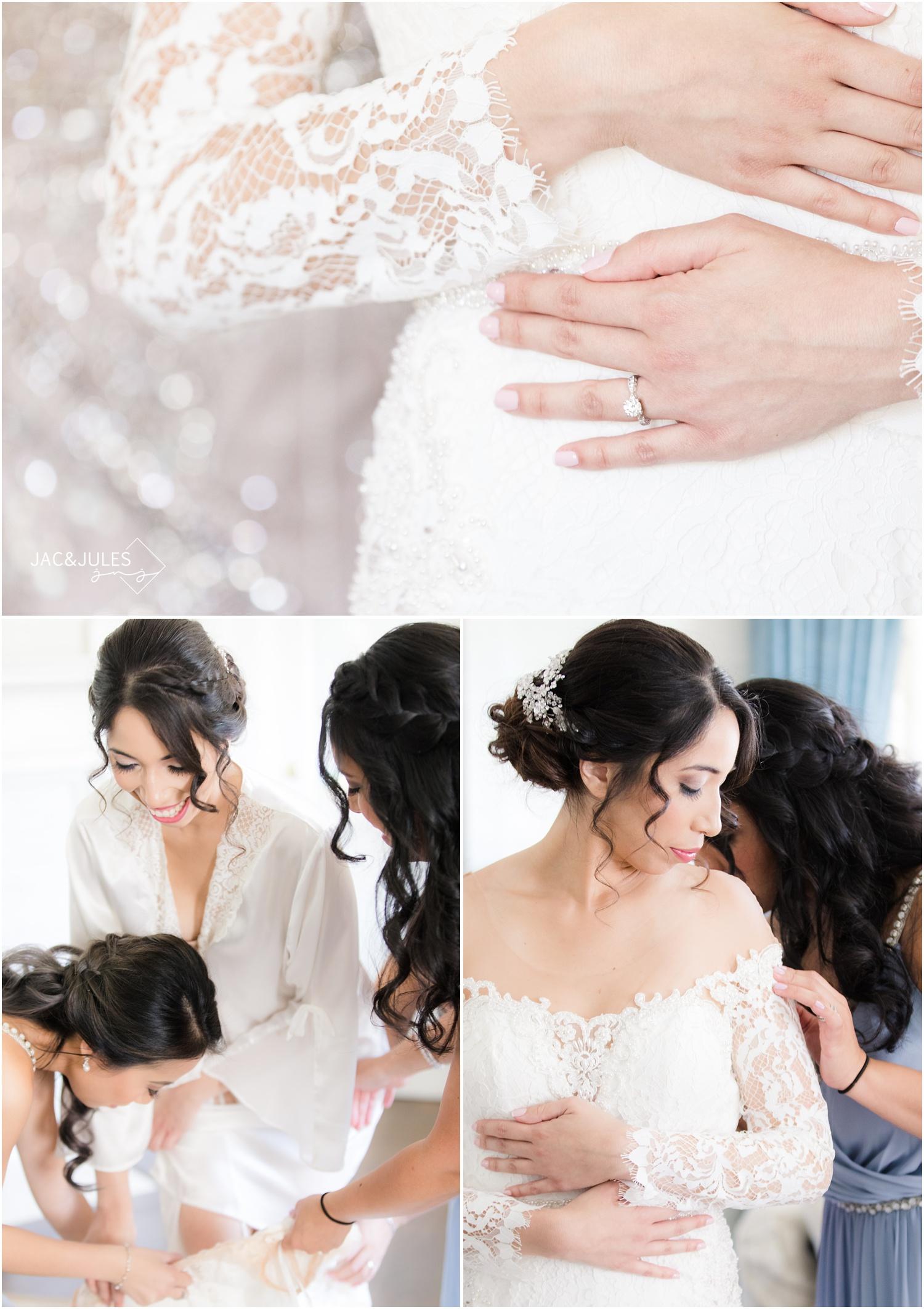 Bridal getting dressed at The Shadowbrook in Shrewsbury, NJ.