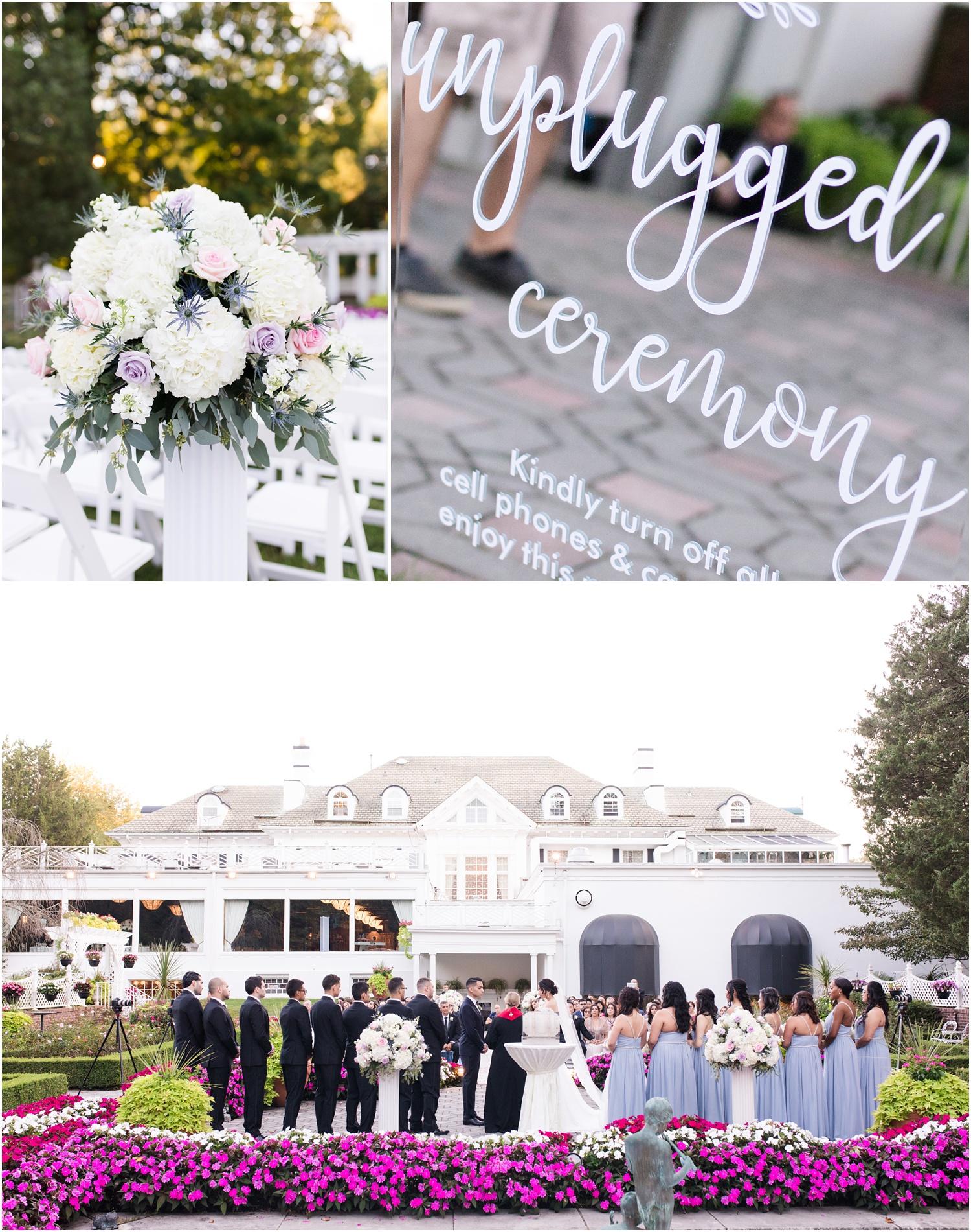 Wedding ceremony in the garden at The Shadowbrook in Shrewsbury, NJ.