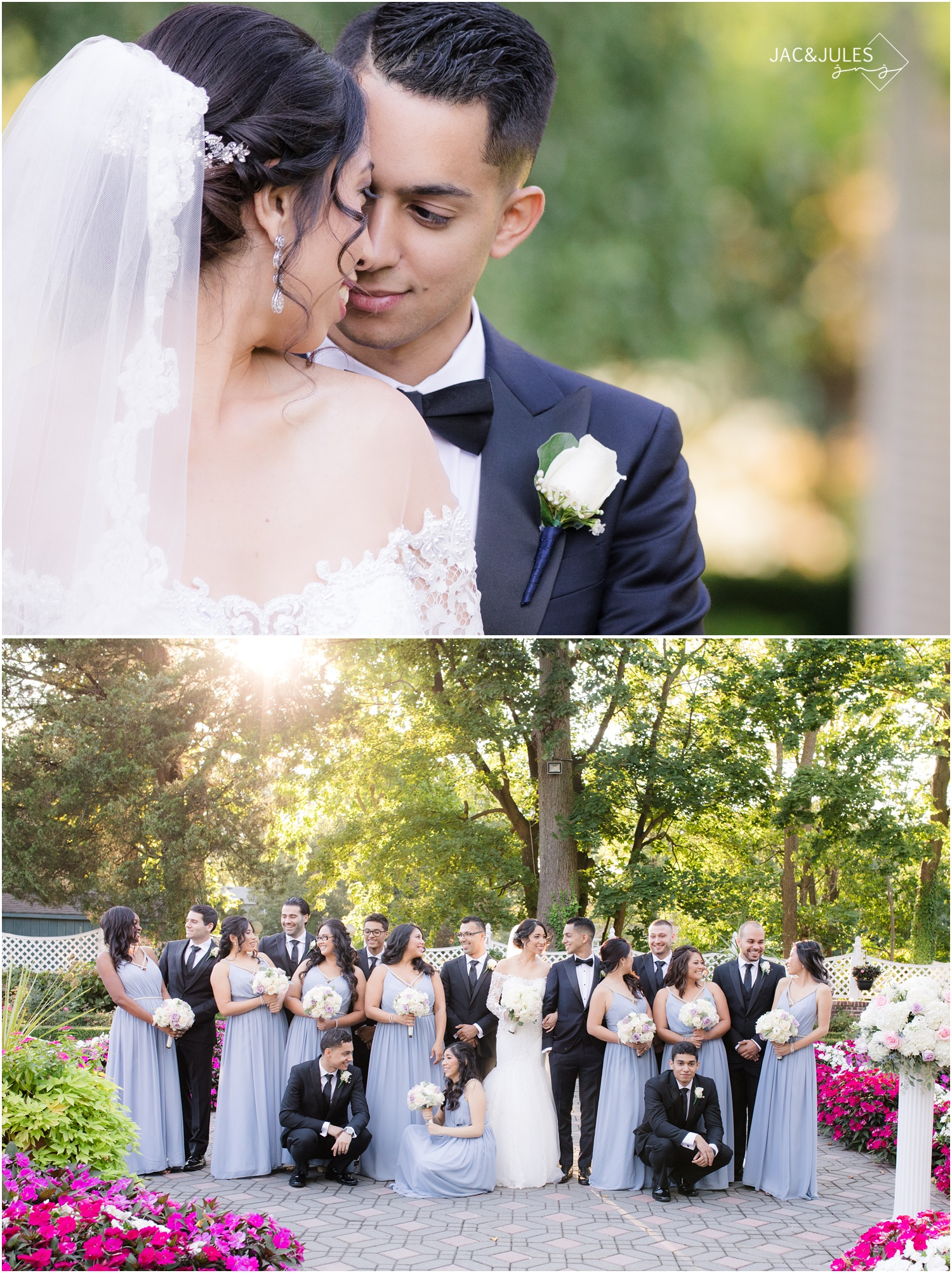 Romantic Bride and groom picture and bridal party portrait at The Shadowbrook in Shrewsbury, NJ.