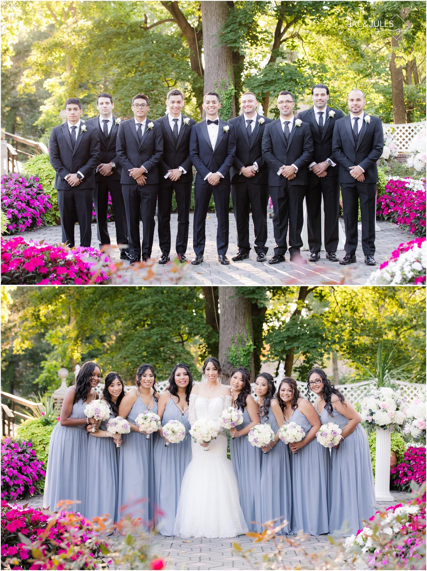 Bridesmaids and groomsmen photos at The Shadowbrook in Shrewsbury, NJ.