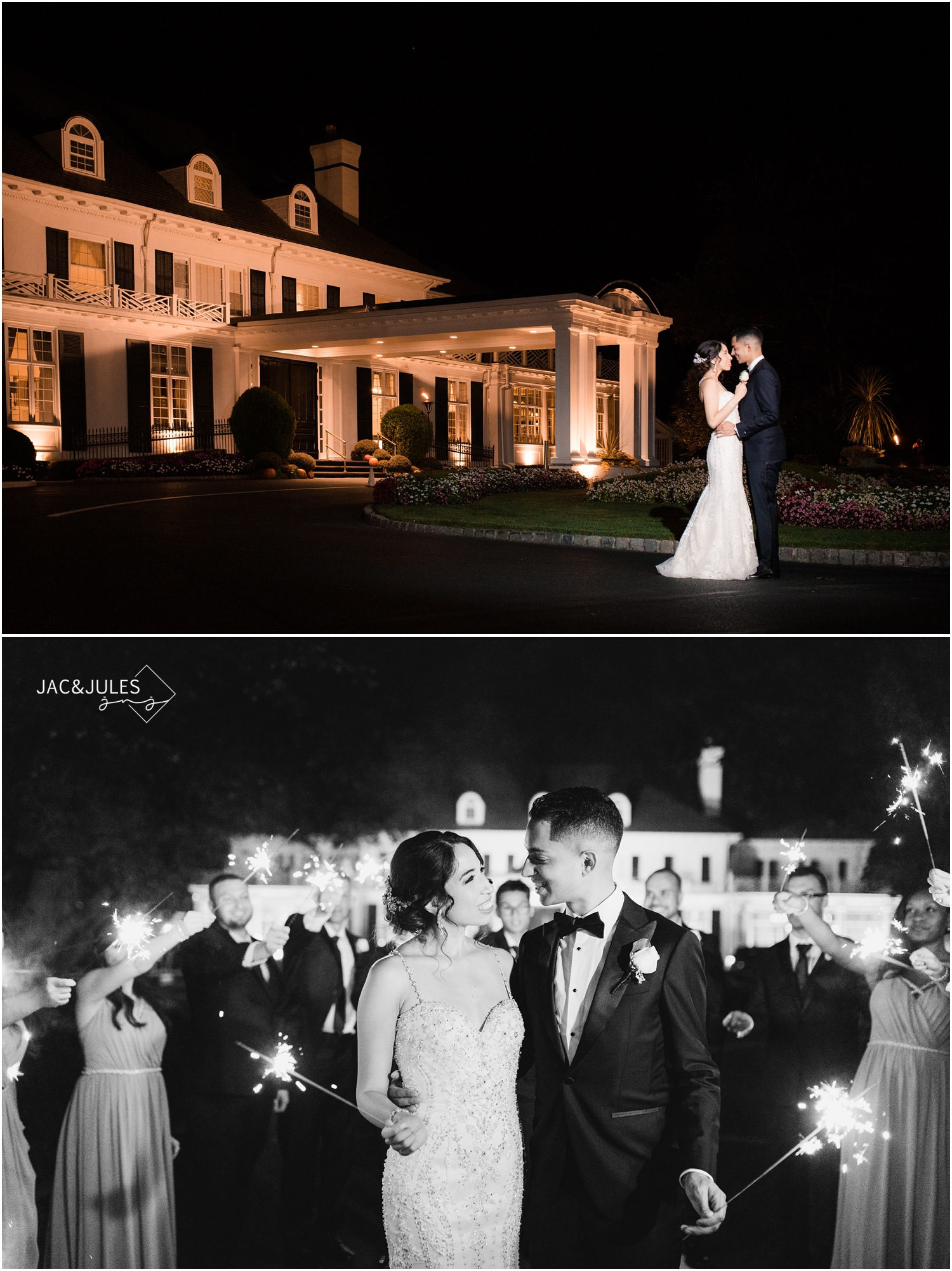 Night time portraits and sparkler exit from a wedding at The Shadowbrook in Shrewsbury, NJ.