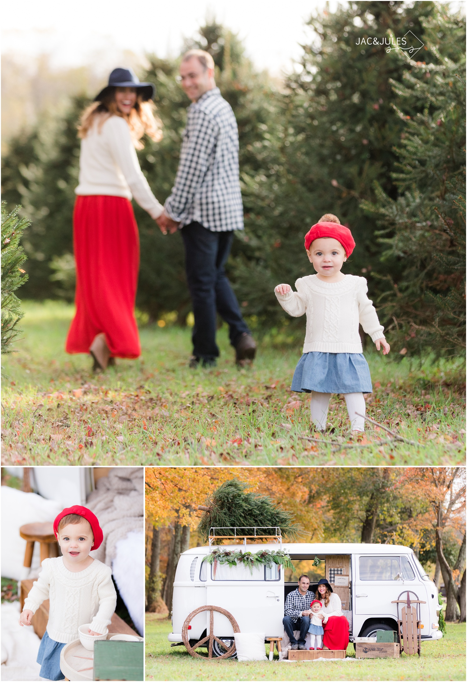 wardrobe inspiration for holiday photos with vintage VW bus in Freehold, NJ.