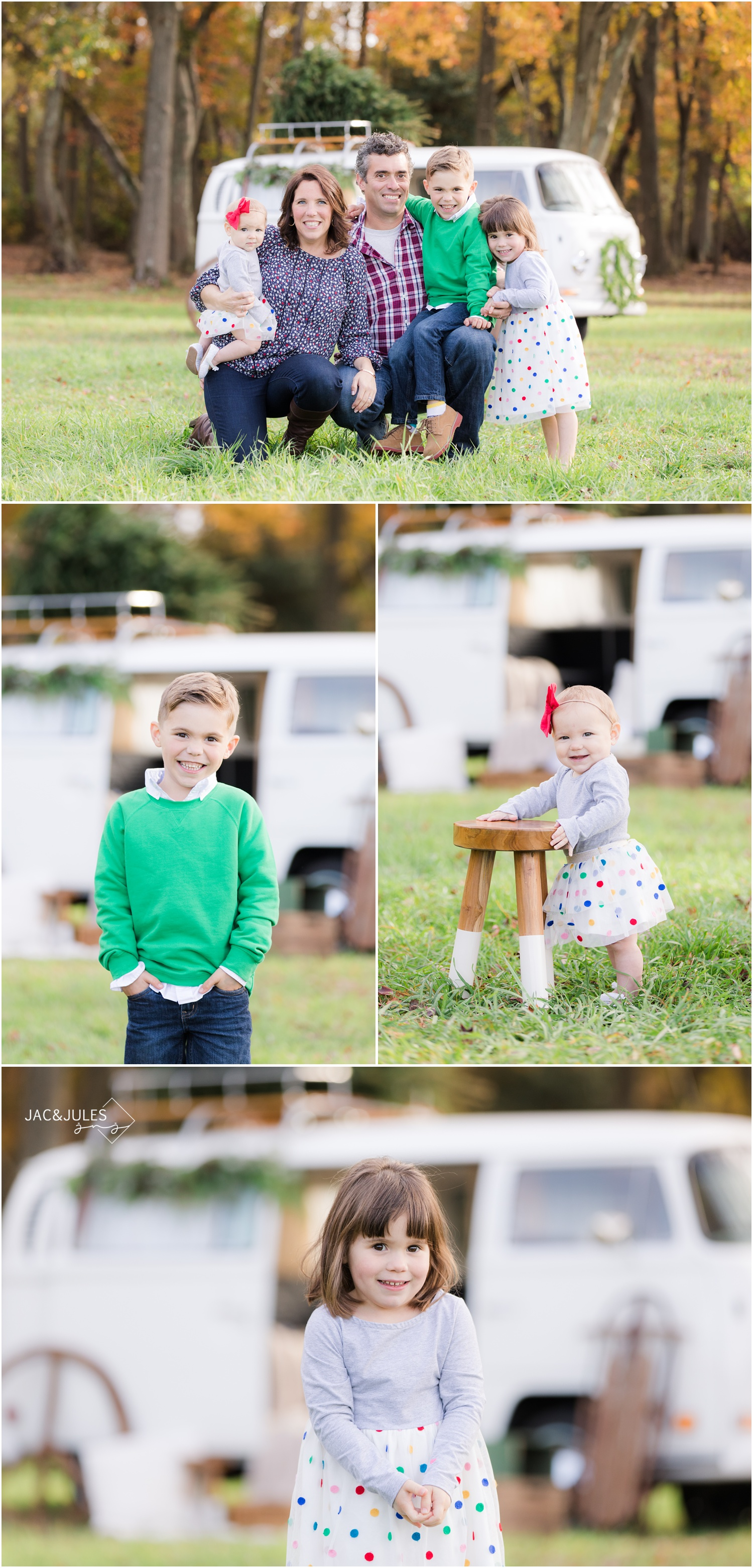 Vintage inspired mini family photo session with VW bus in Freehold, NJ.