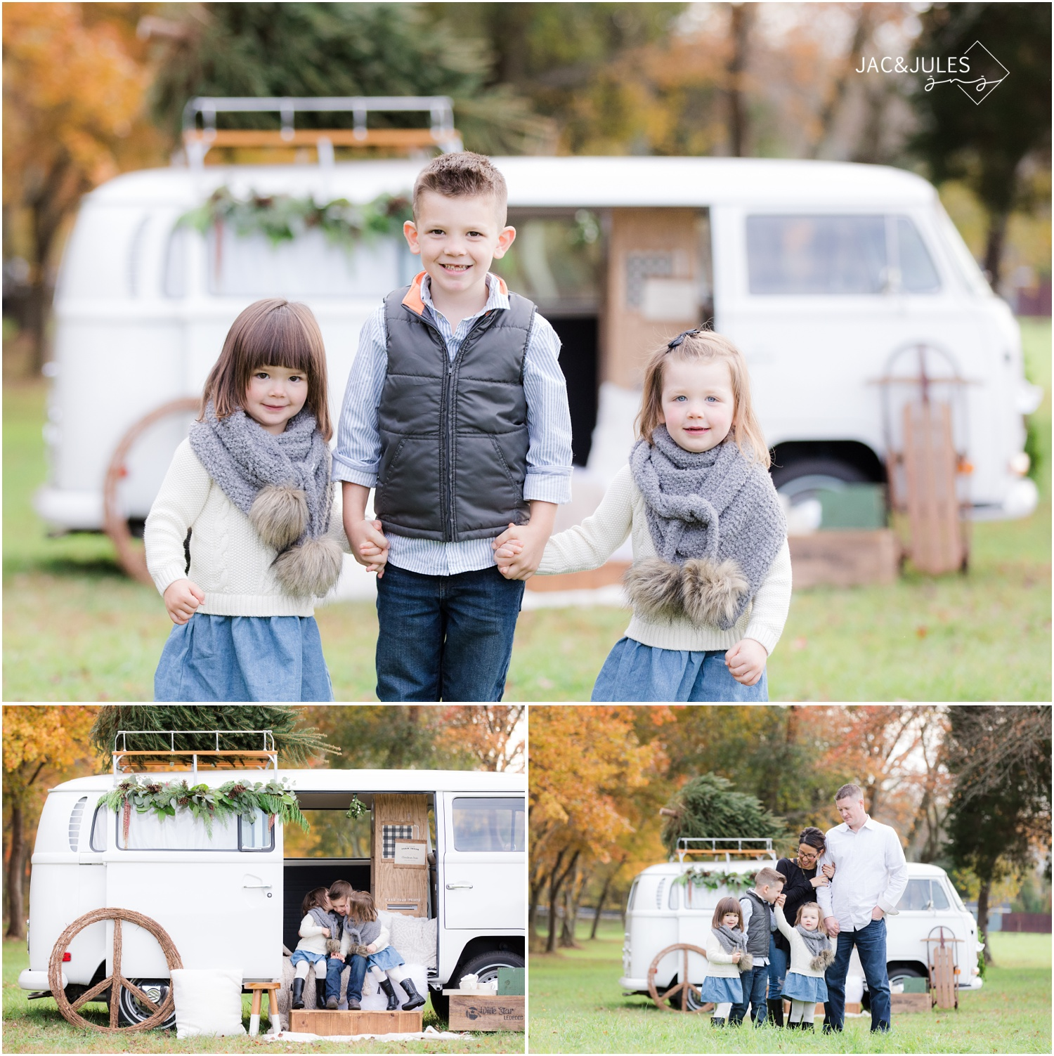 family wardrobe inspiration for holiday photos with vintage VW bus in Freehold, NJ.