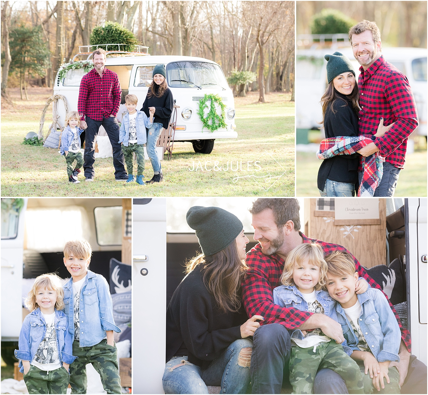 trendy family photos for christmas in nj with a vw bus