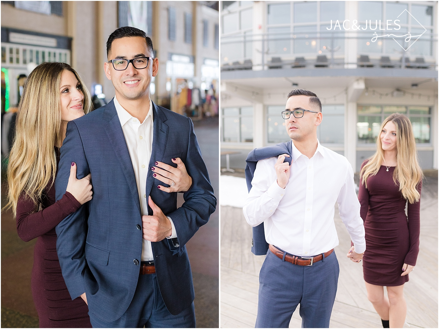 man in blue suit for engagement photo