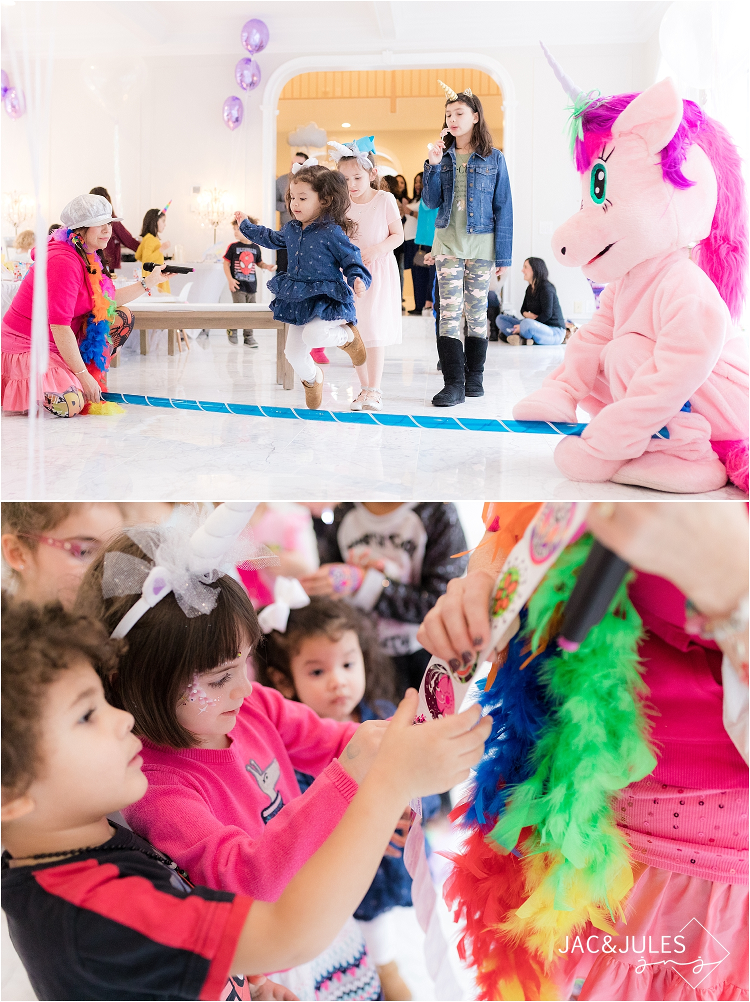 kids games at unicorn birthday party