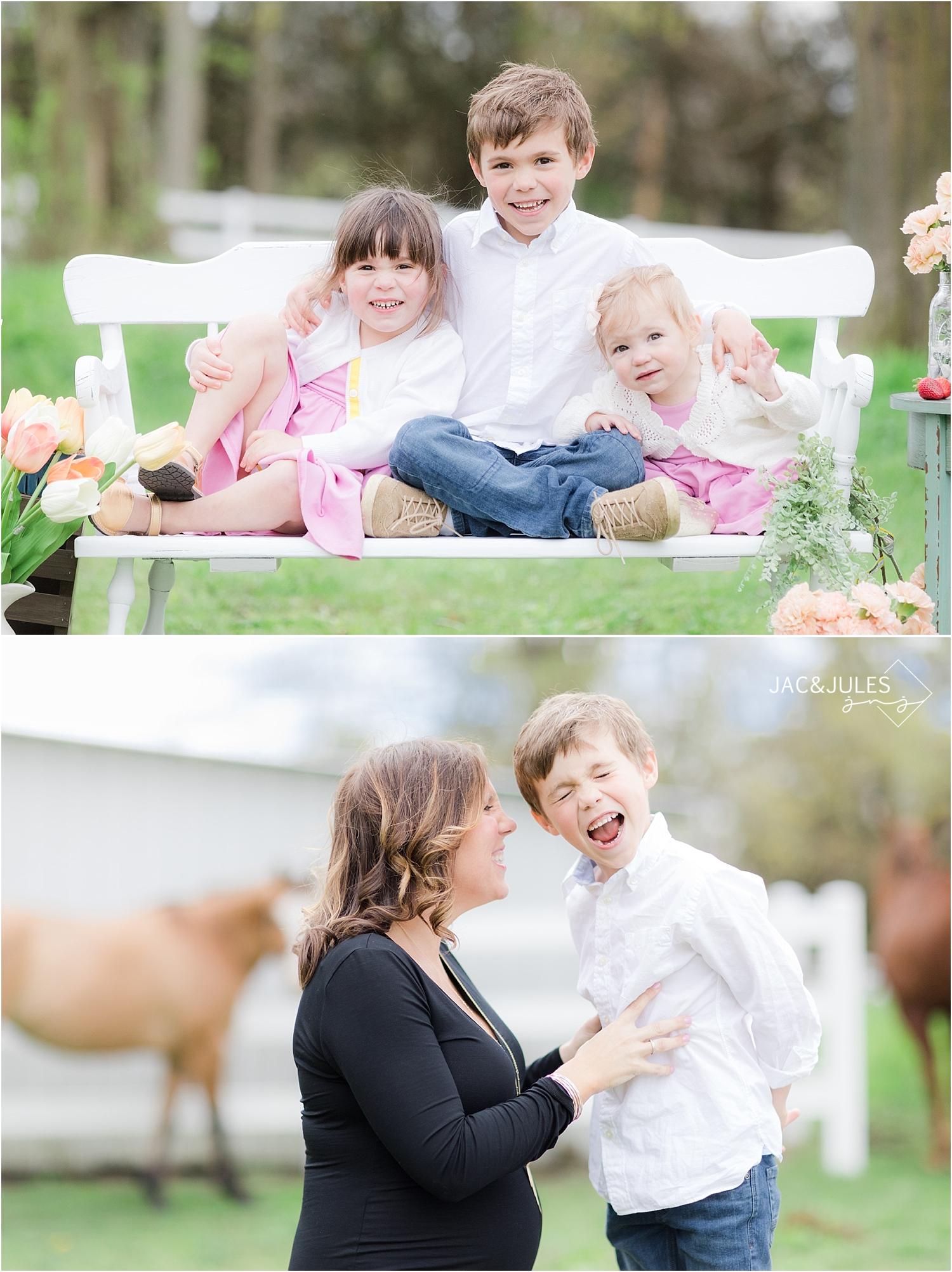 spring family photos at a farm in nj