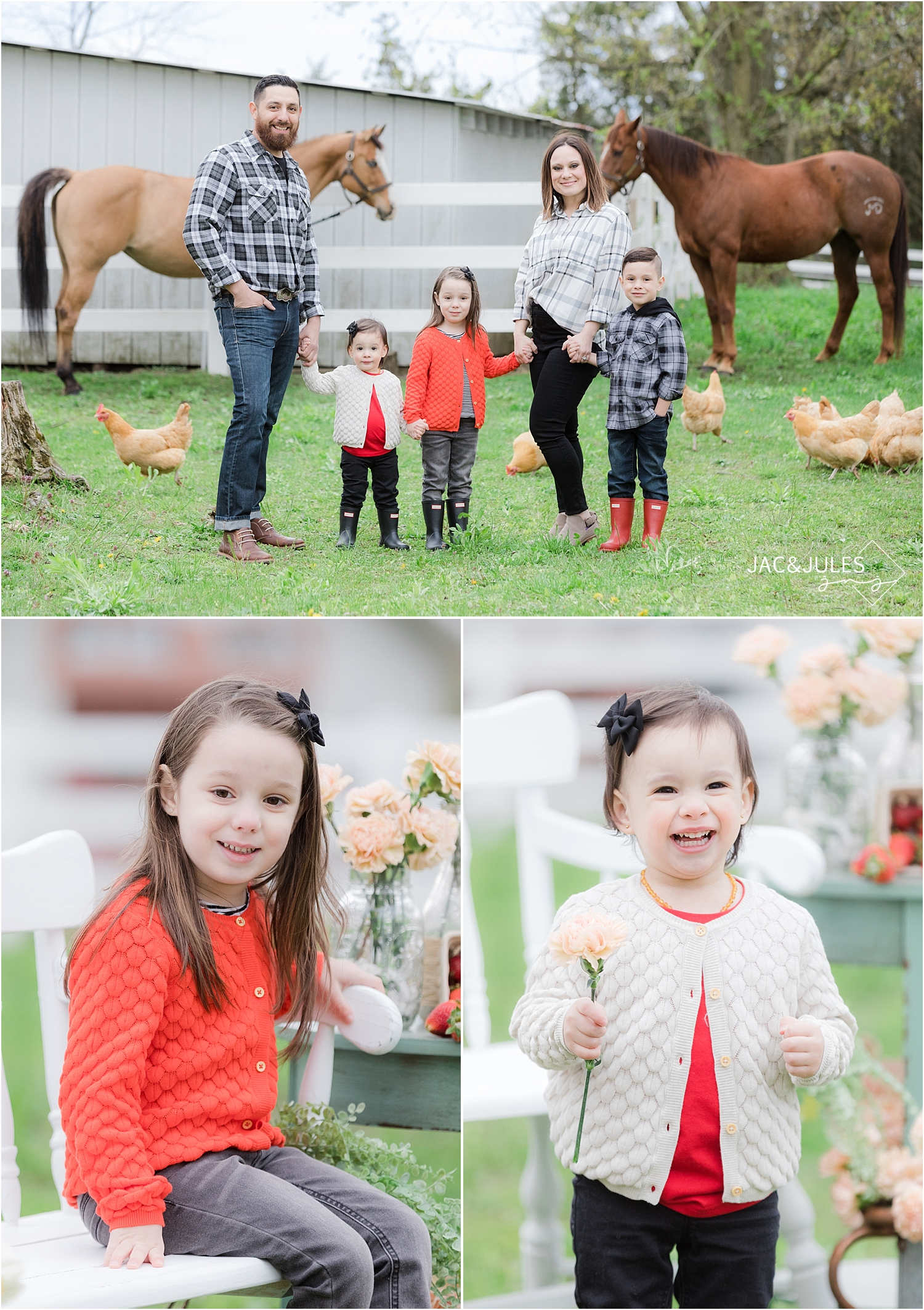 spring family photos on a farm in new jersey