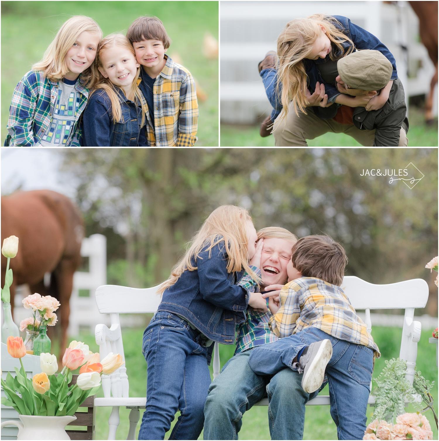 photos of kids having fun at a cream ridge, nj horse farm.