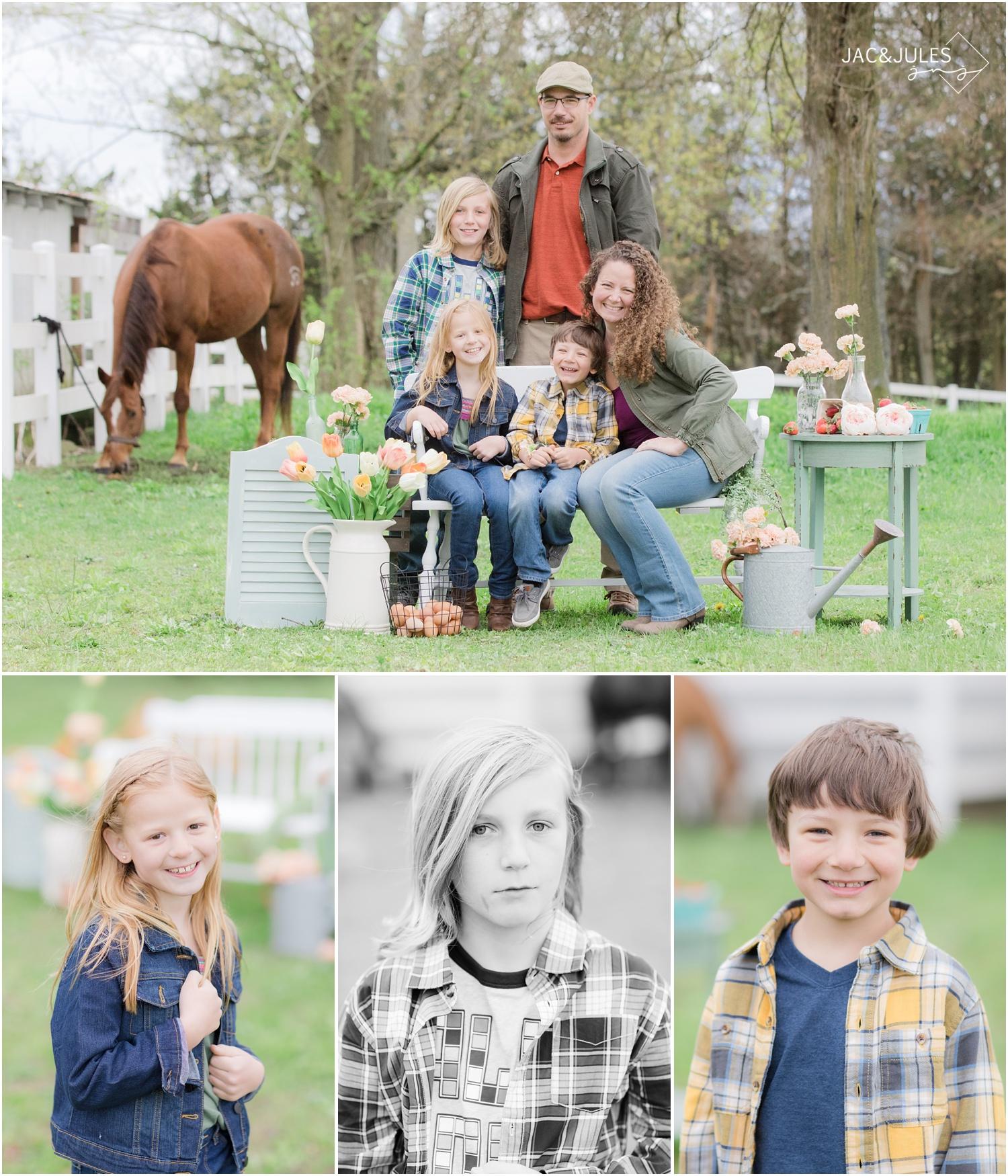 family photos at horse farm in cream ridge, nj.