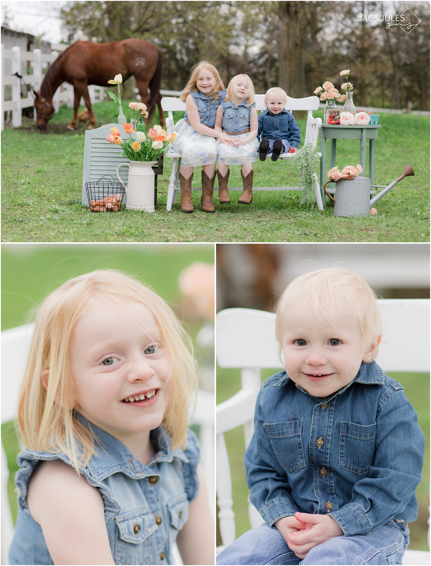 cute kid photos at styled photo session at a horse farm in cream ridge, nj.