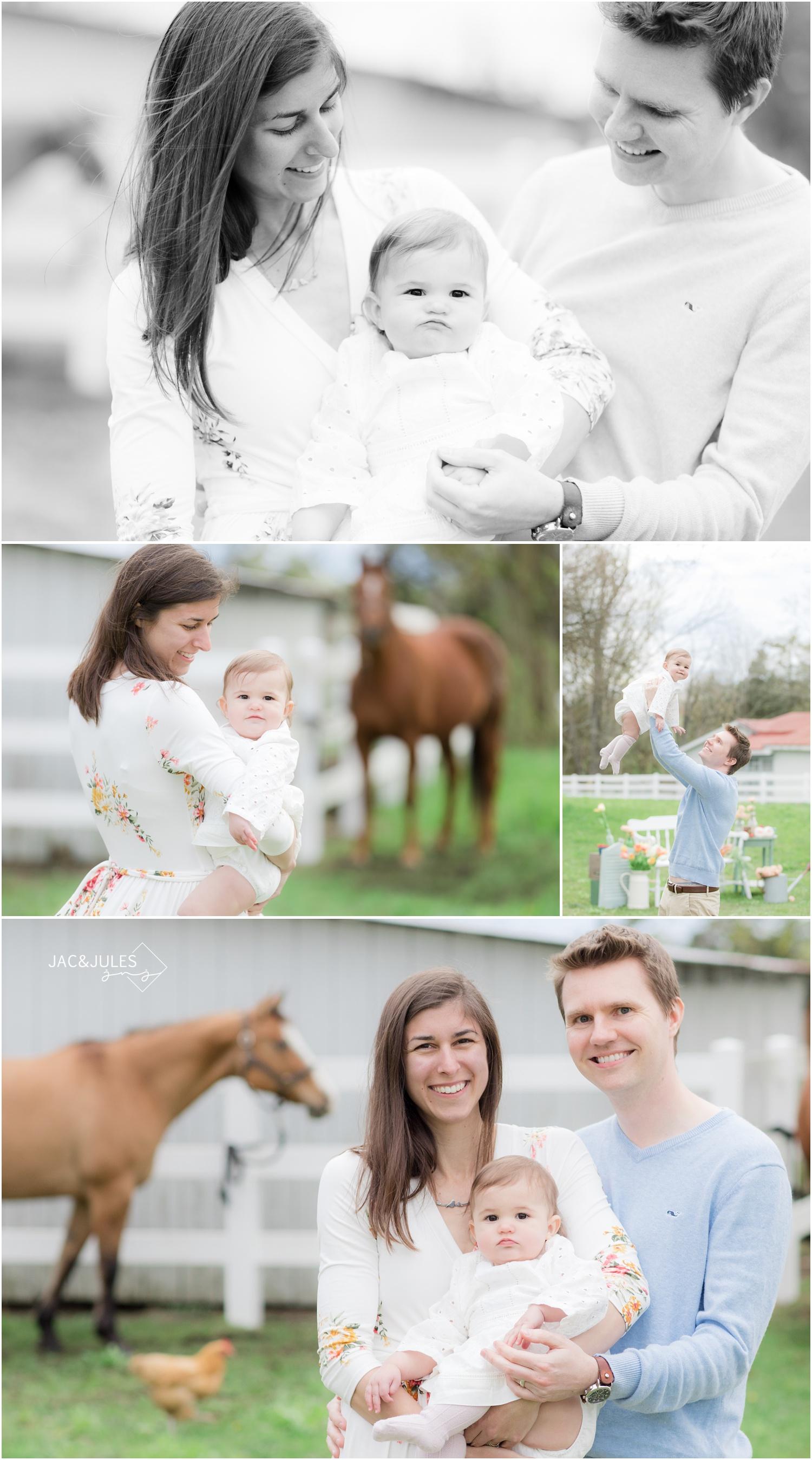 family photos at a horse farm in cream ridge, nj.