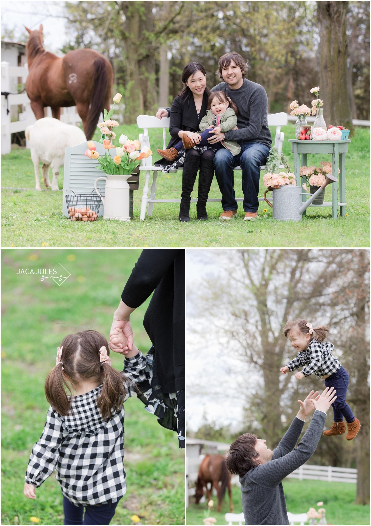 playful family photos at the horse farm in nj