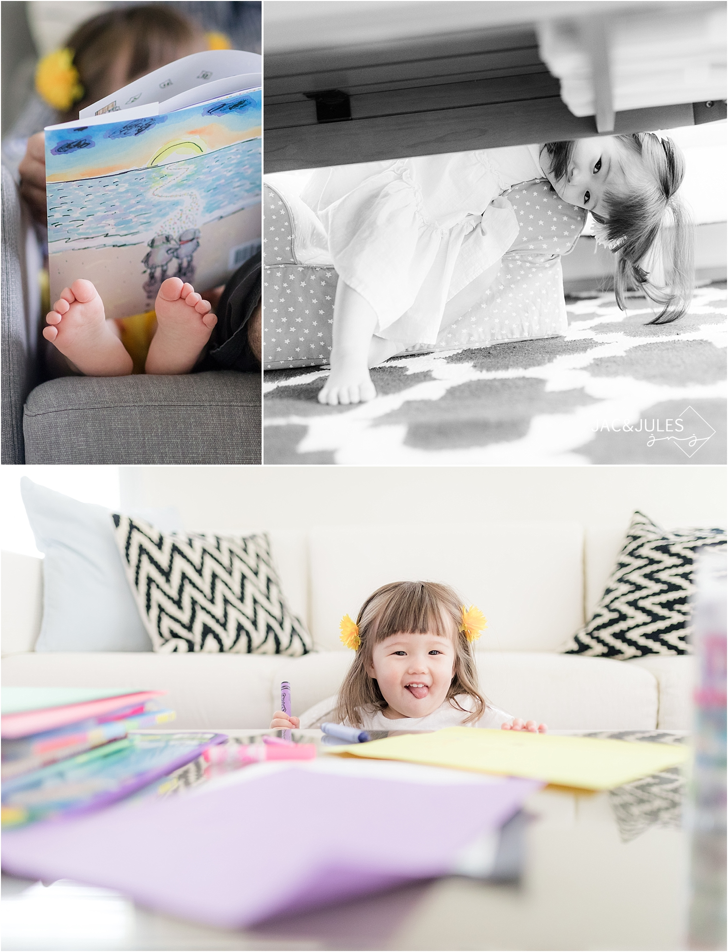 little girl coloring and playing at home