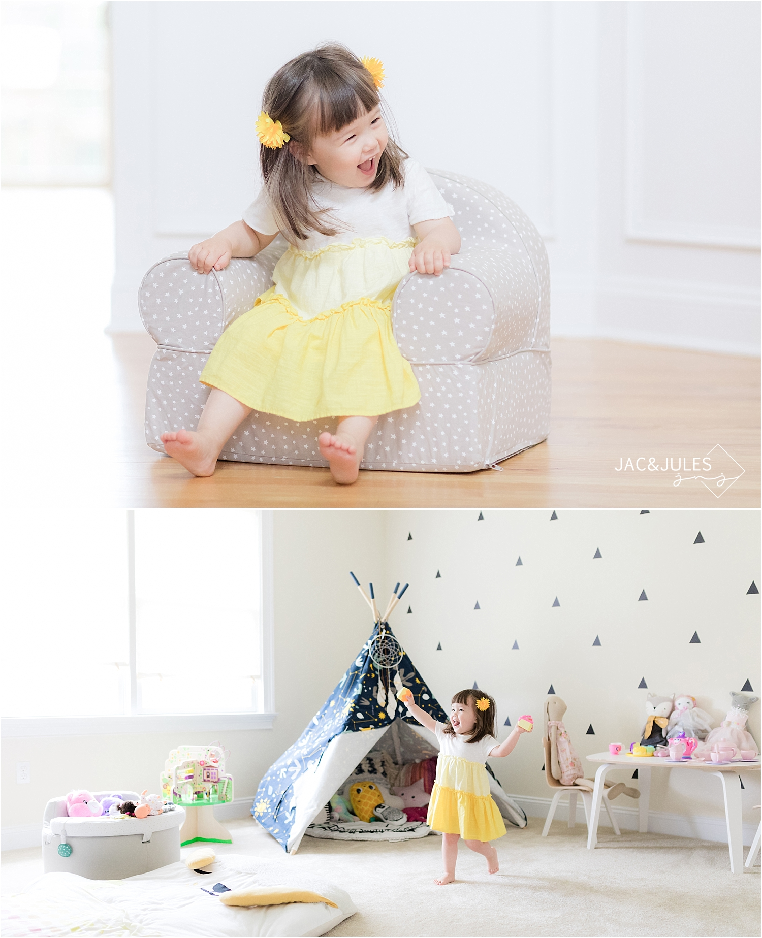 little girl playing in her decorated play room
