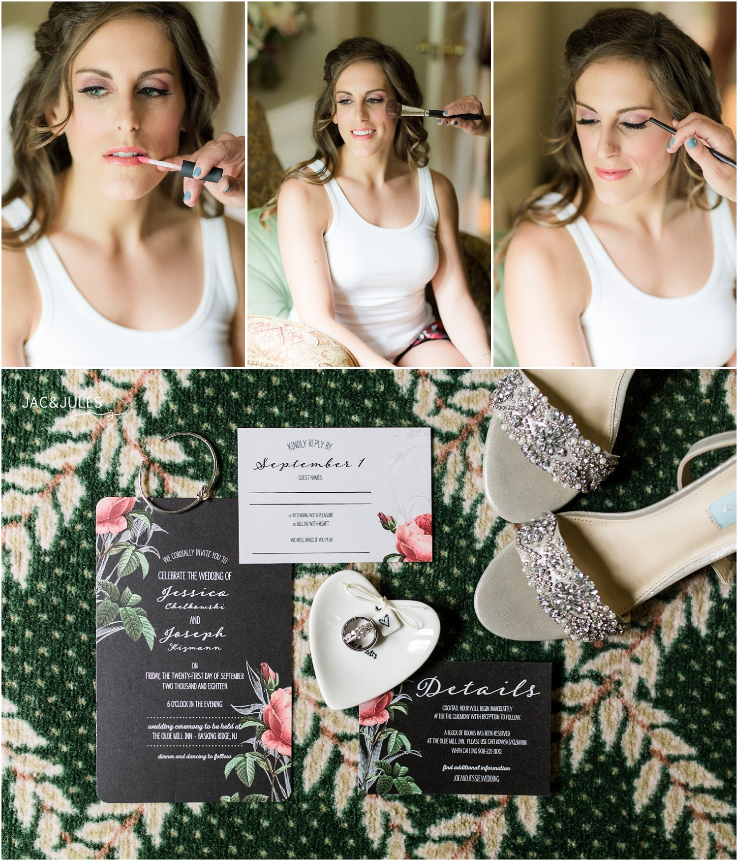 Photo invitation and bridal makeup at The Olde Mill Inn in Basking Ridge, NJ.