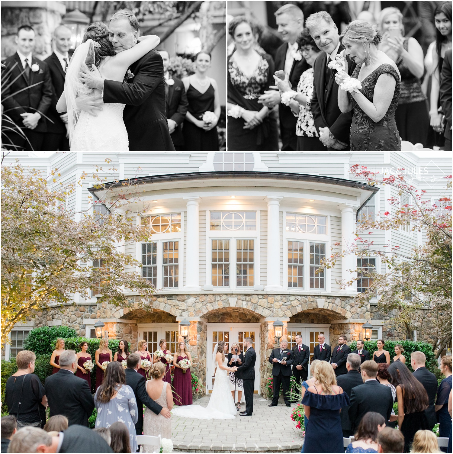 emotional reactions during a wedding ceremony at The Olde Mill Inn in Basking Ridge, NJ.