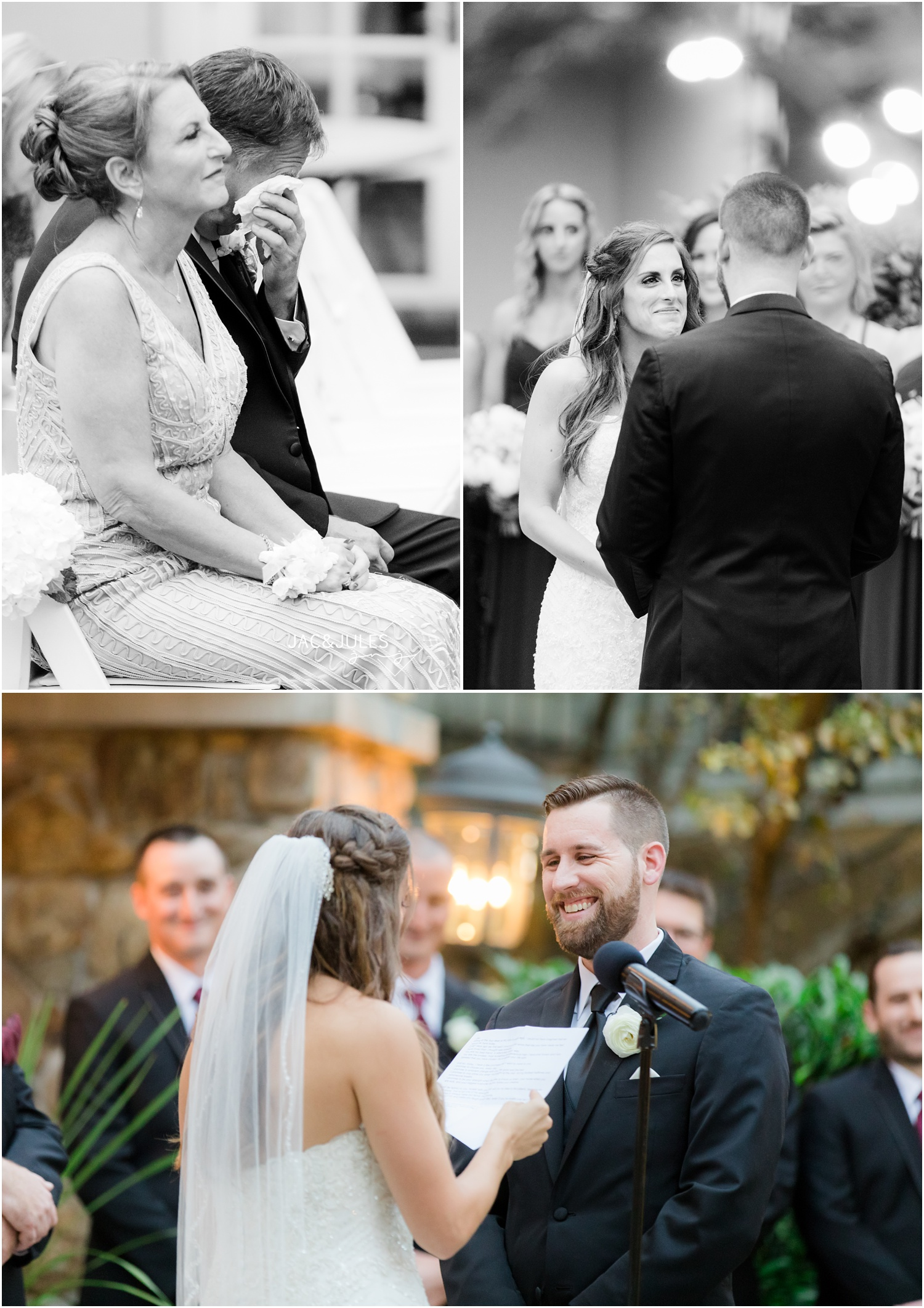 Wedding ceremony vows at The Olde Mill Inn in Basking Ridge, NJ.