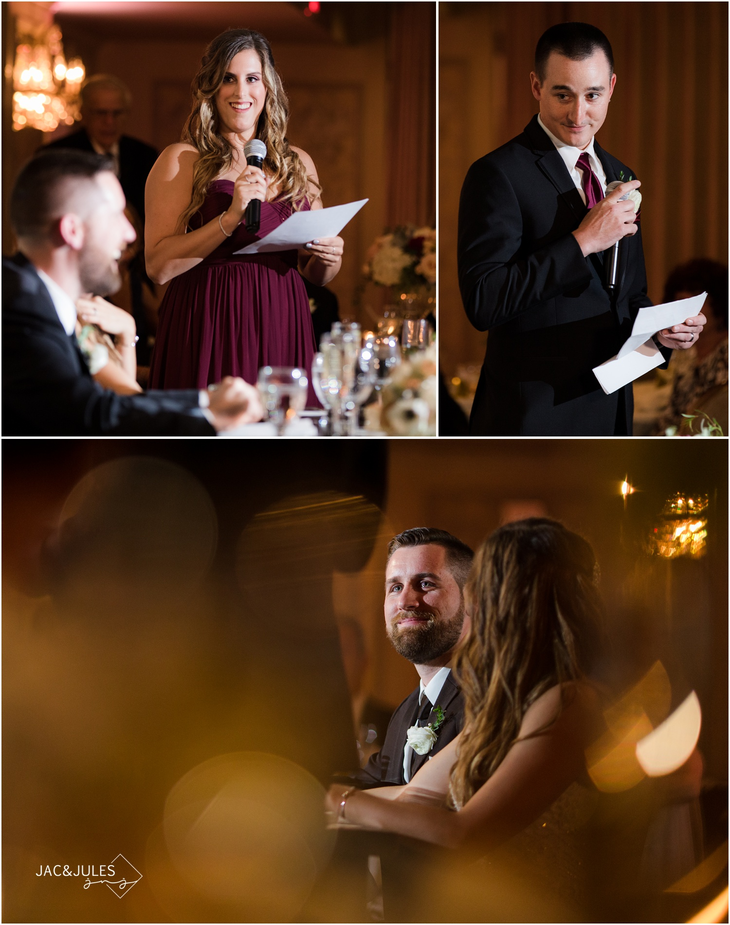 Best Man and Maid of Honor Speeches at The Olde Mill Inn.