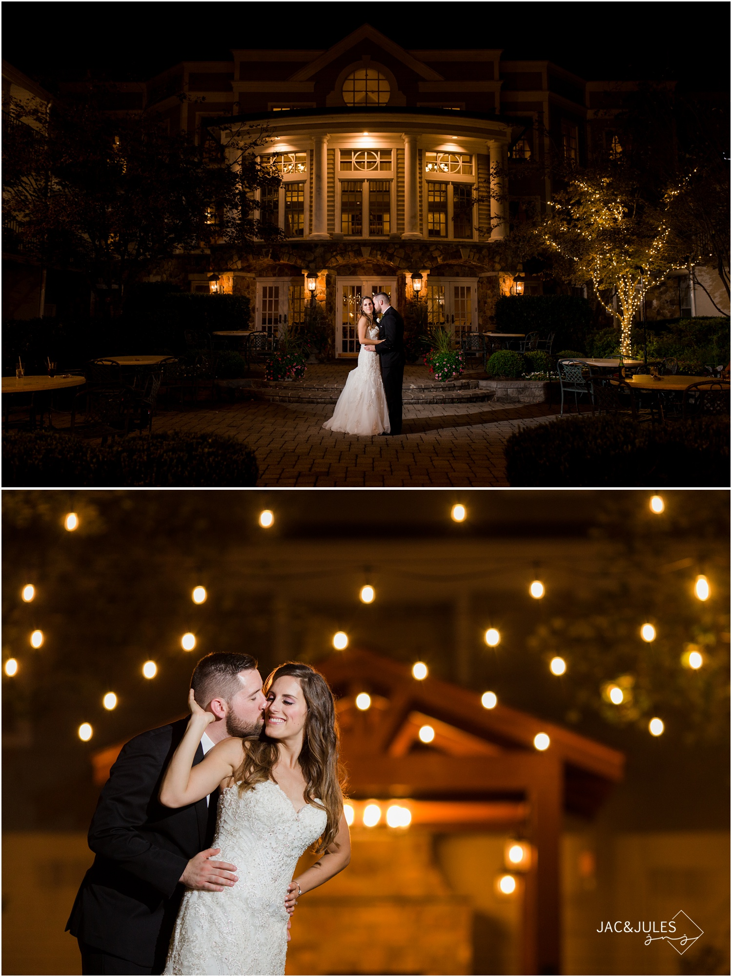 night time portraits of bride and groom during wedding reception at The olde mill inn in Basking Ridge, NJ.
