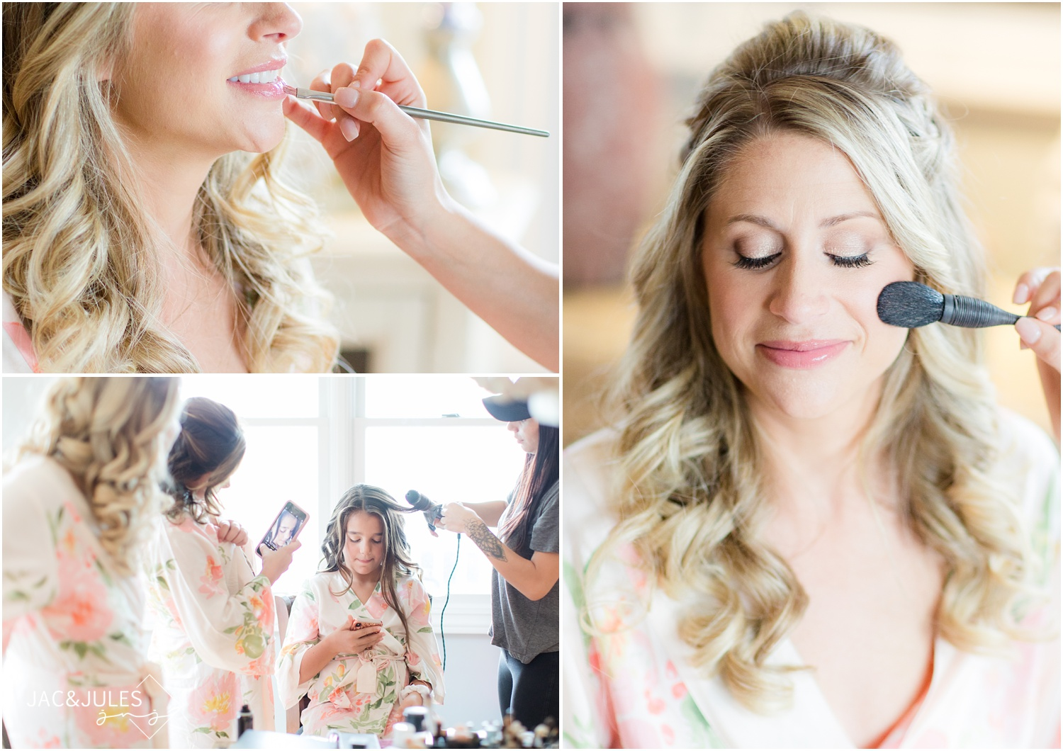 bride getting her makeup done at home in Spring Lake, NJ.