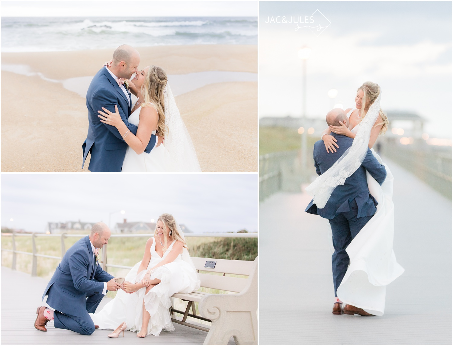 Newlywed photos of bride and groom on the beach in front of The Breakers in Spring Lake, NJ.