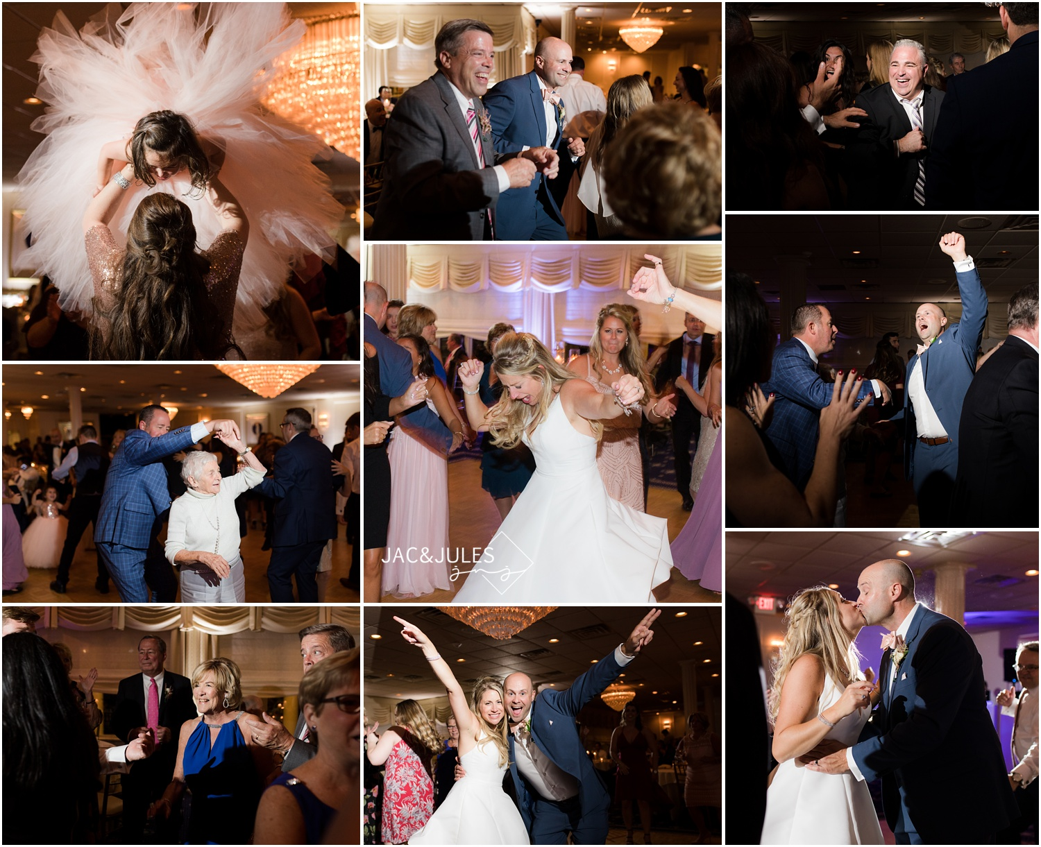 Fun and dancing during a wedding reception at The Breakers in Spring Lake.