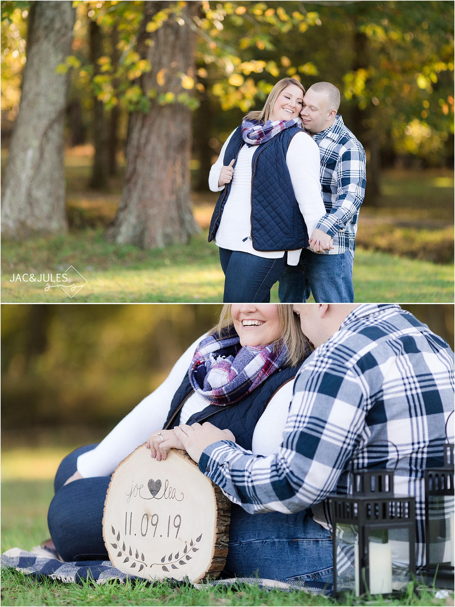 romantic fall engagement photo at historic village at allaire