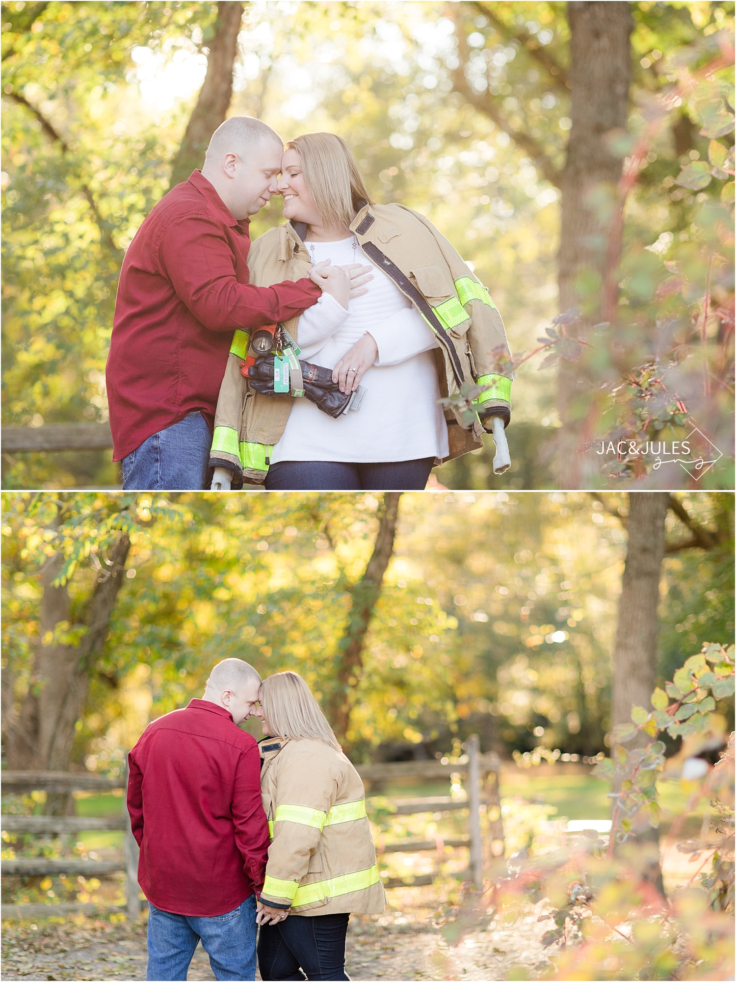 fall engagement photo at allaire using fireman gear