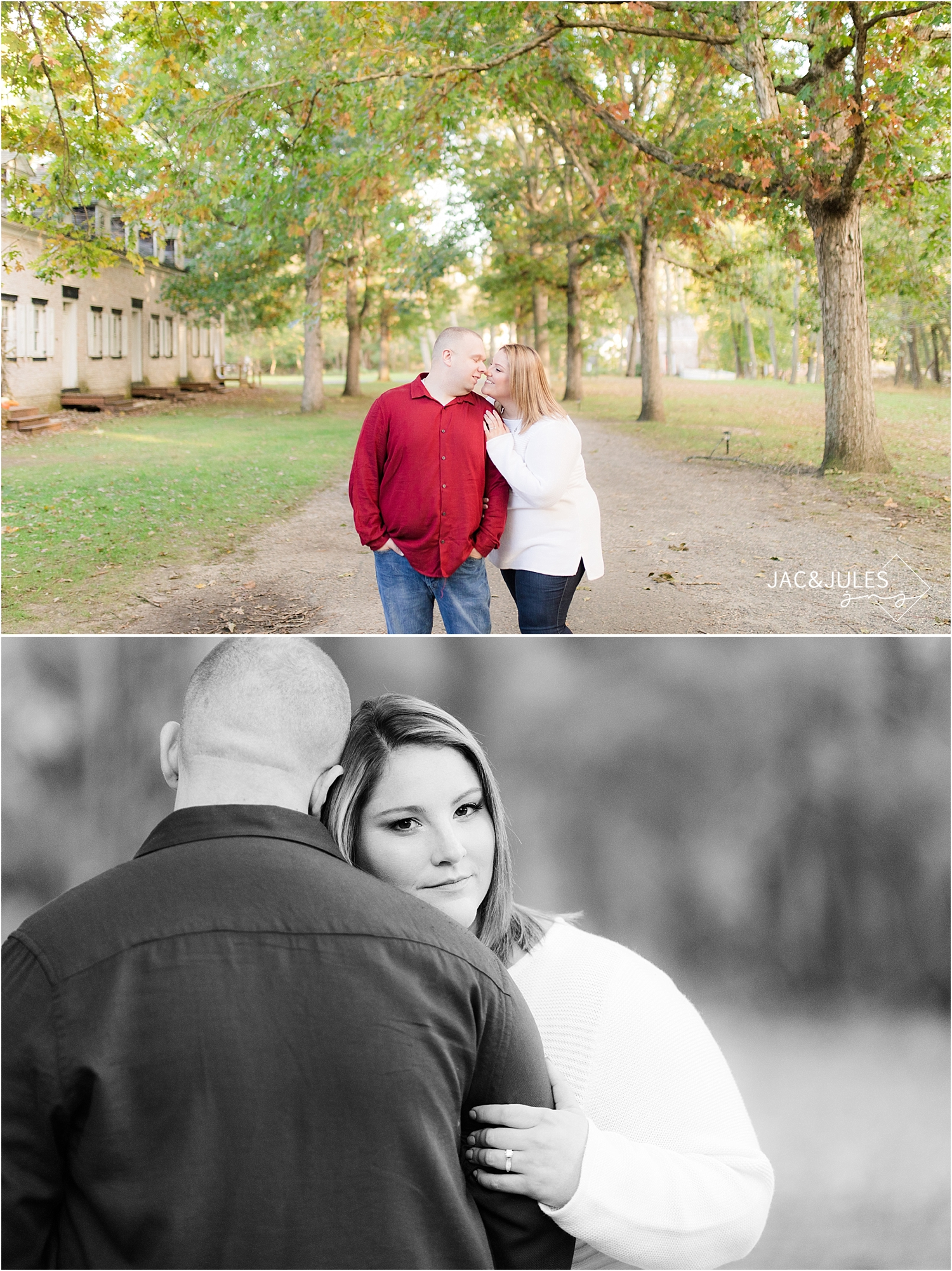 romantic fall engagement photos at allaire state park