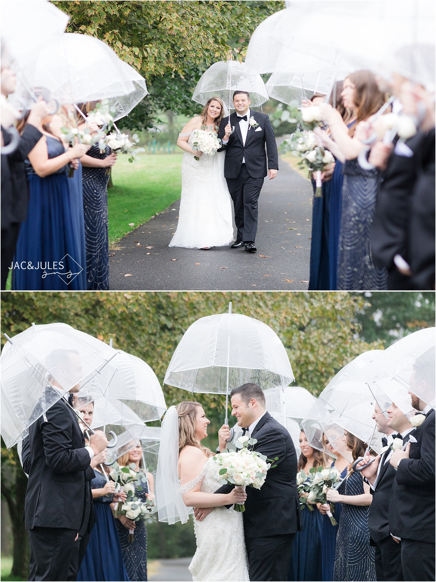 bridal party with umbrellas at briant park