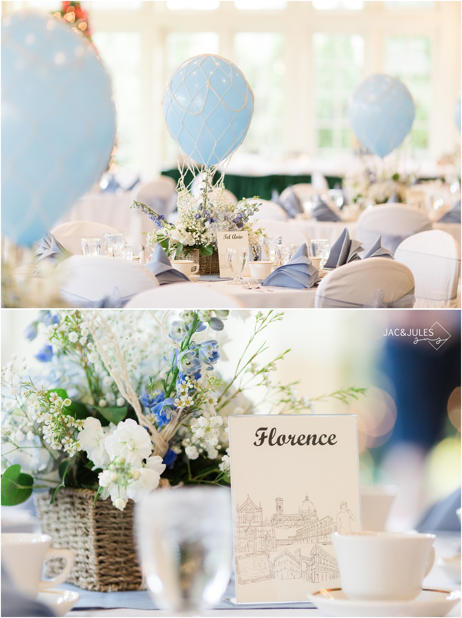 Hot air balloon centerpieces for travel theme baby shower at Forsgate Country Club.