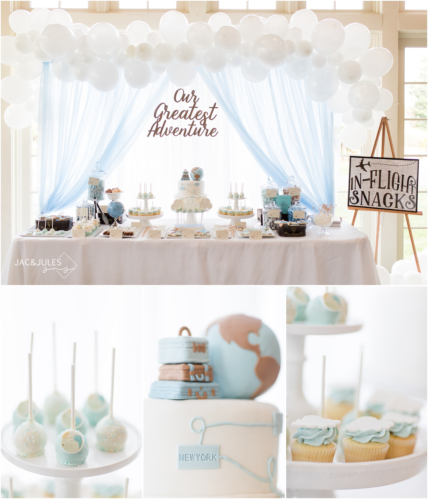 giant candy and dessert display for travel theme baby shower at Forsgate Country Club.
