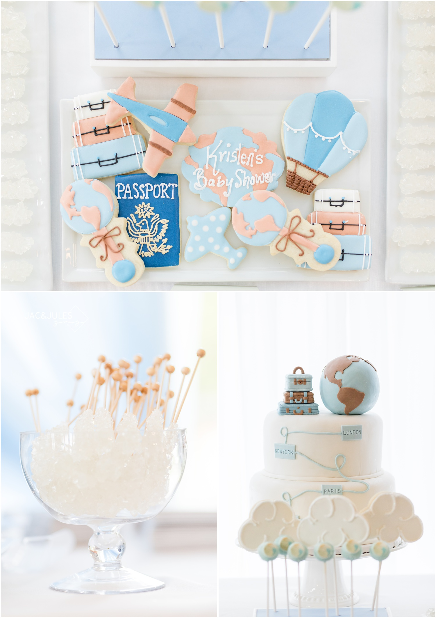 passport, airplane, and hot air balloon cookies for travel theme baby shower at Forsgate Country Club.