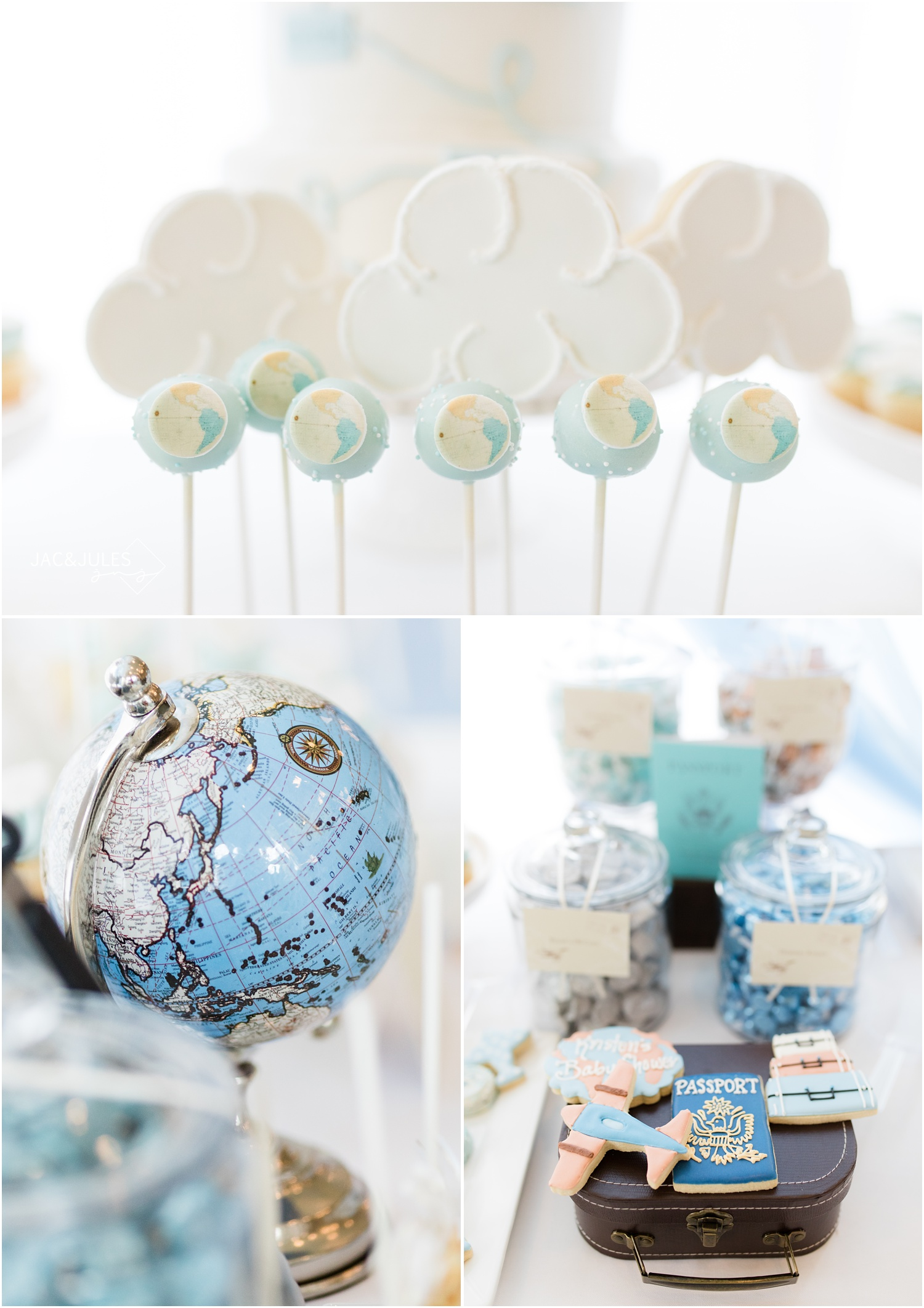 globe cake pops and cloud cookie pops for travel theme baby shower at Forsgate Country Club.