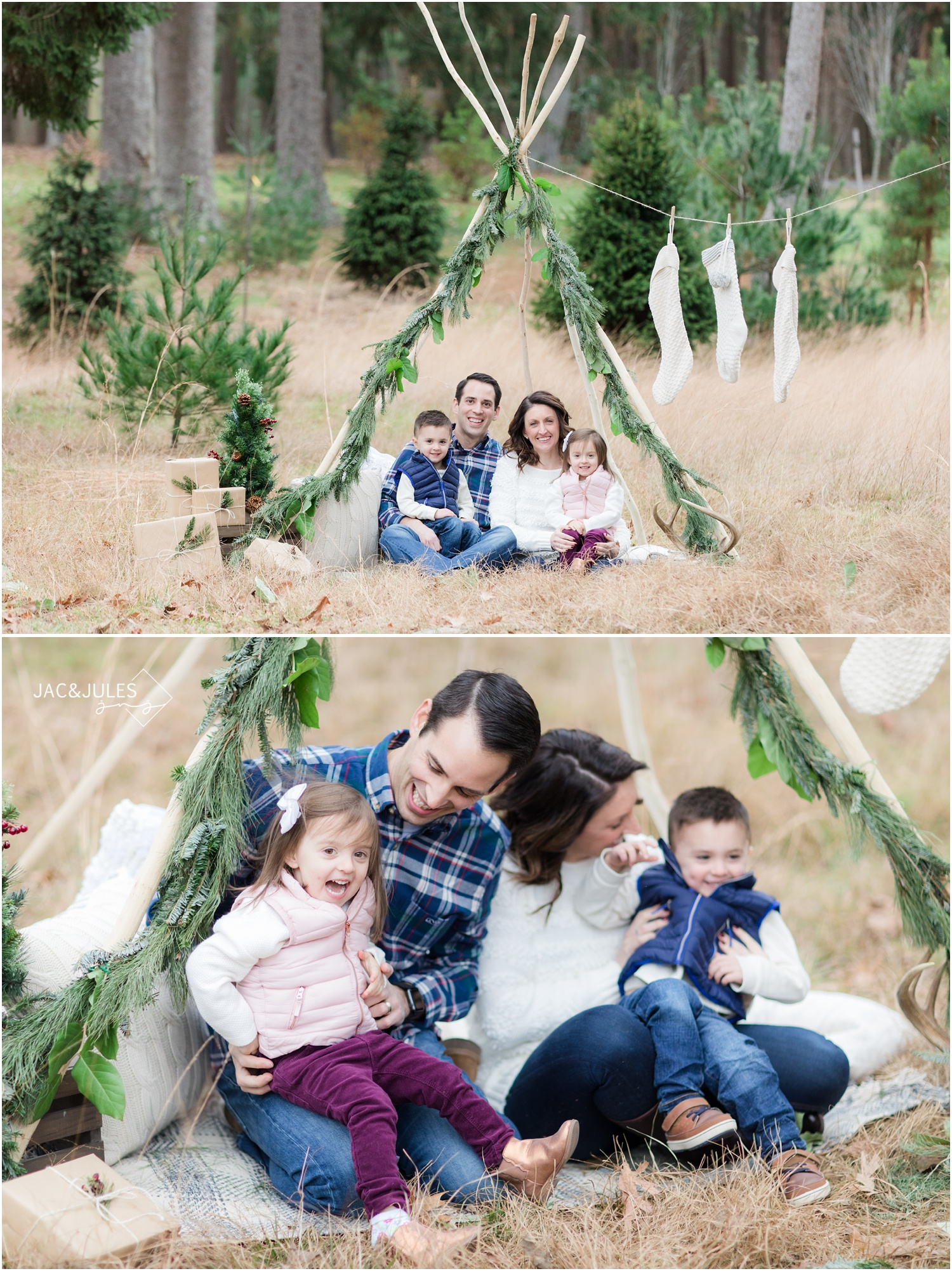 Fun family holiday photos using a teepee decorated for christmas in Ocean County Park in NJ.