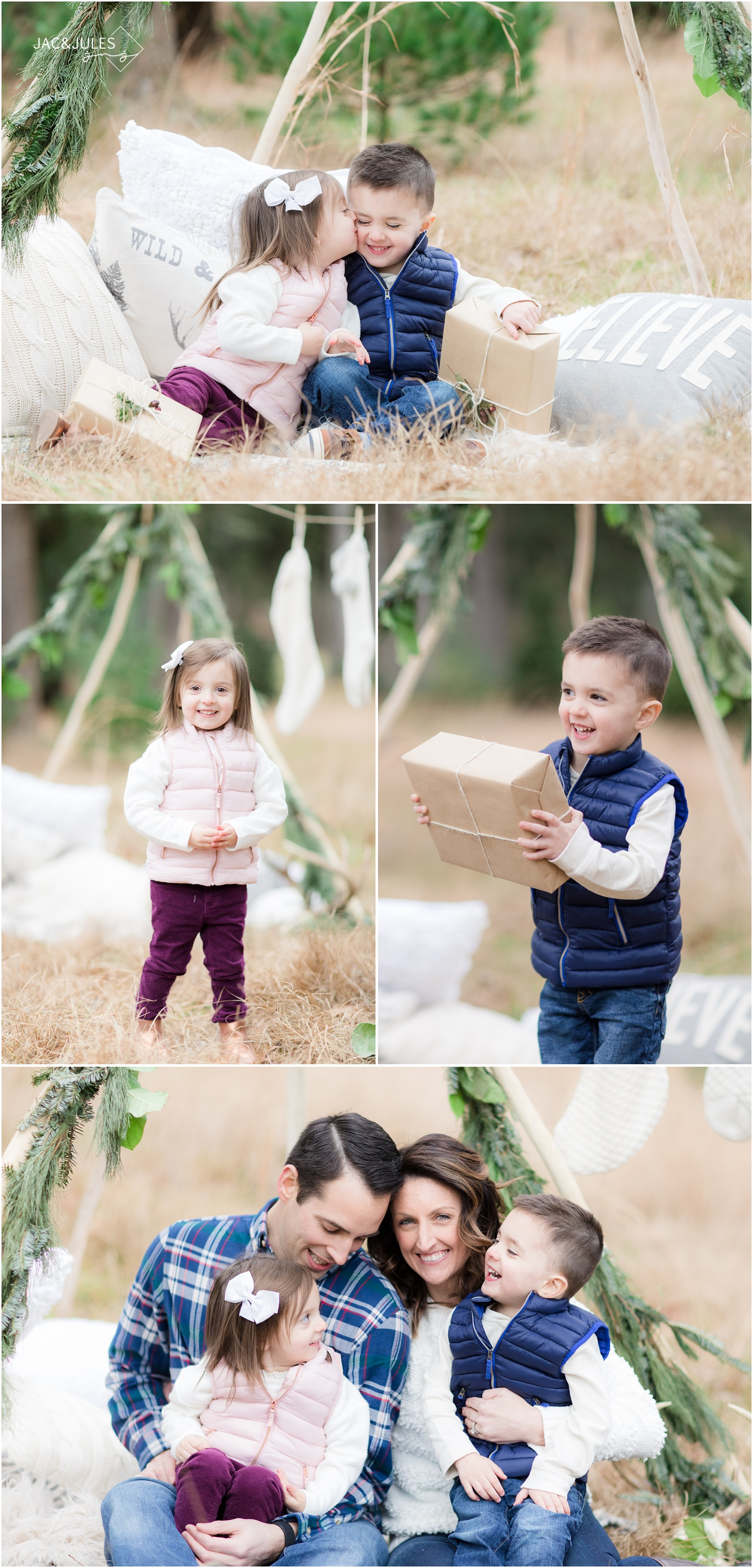 casual family christmas photos using a teepee with holiday decor at a tree farm in Ocean County Park in NJ.