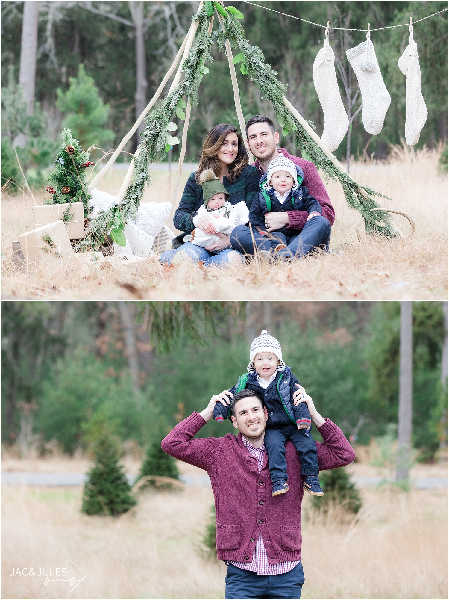 unique holiday photo in ocean county nj using teepee with garland