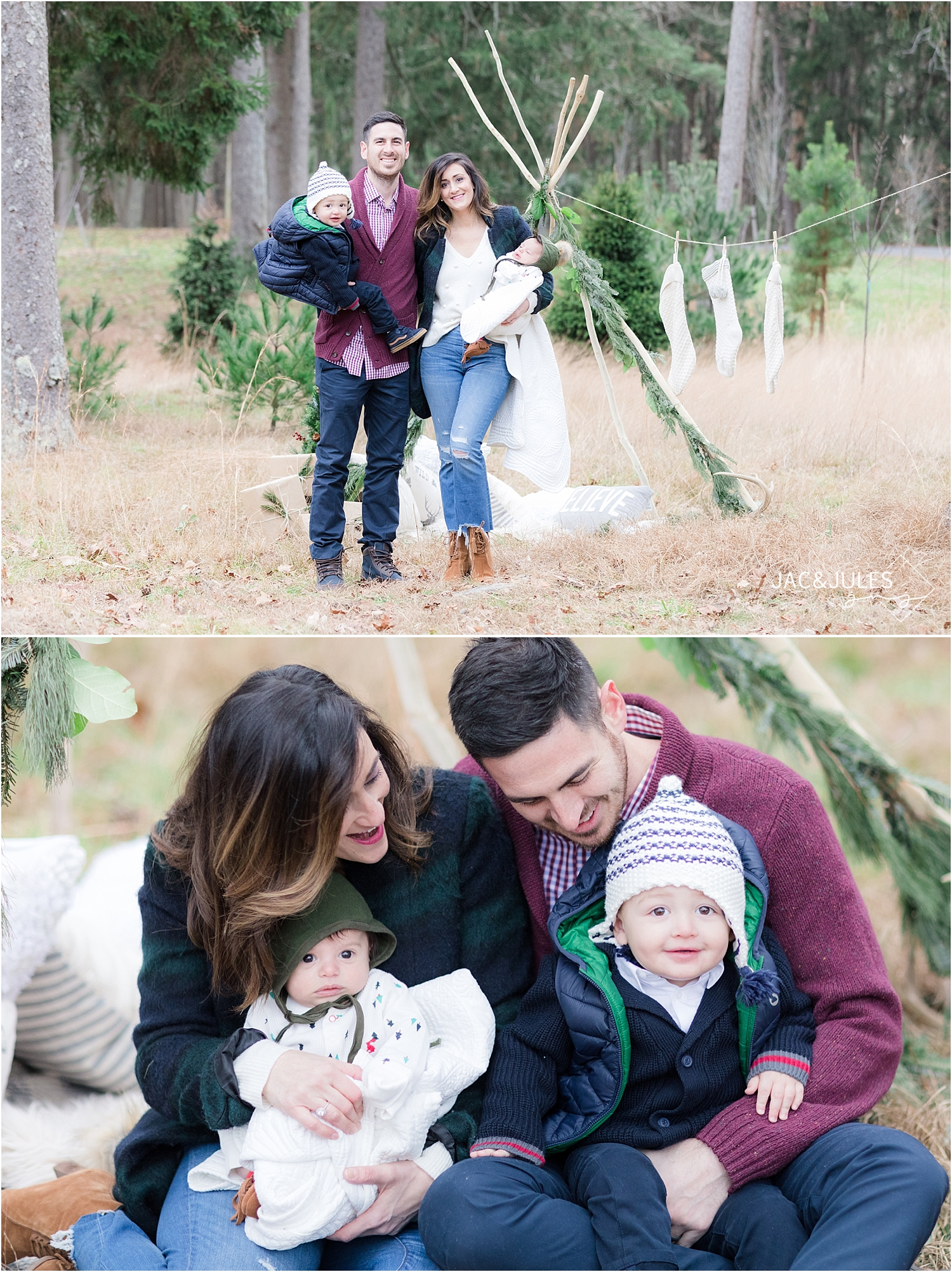 holiday mini session photo using teepee with garland in new jersey