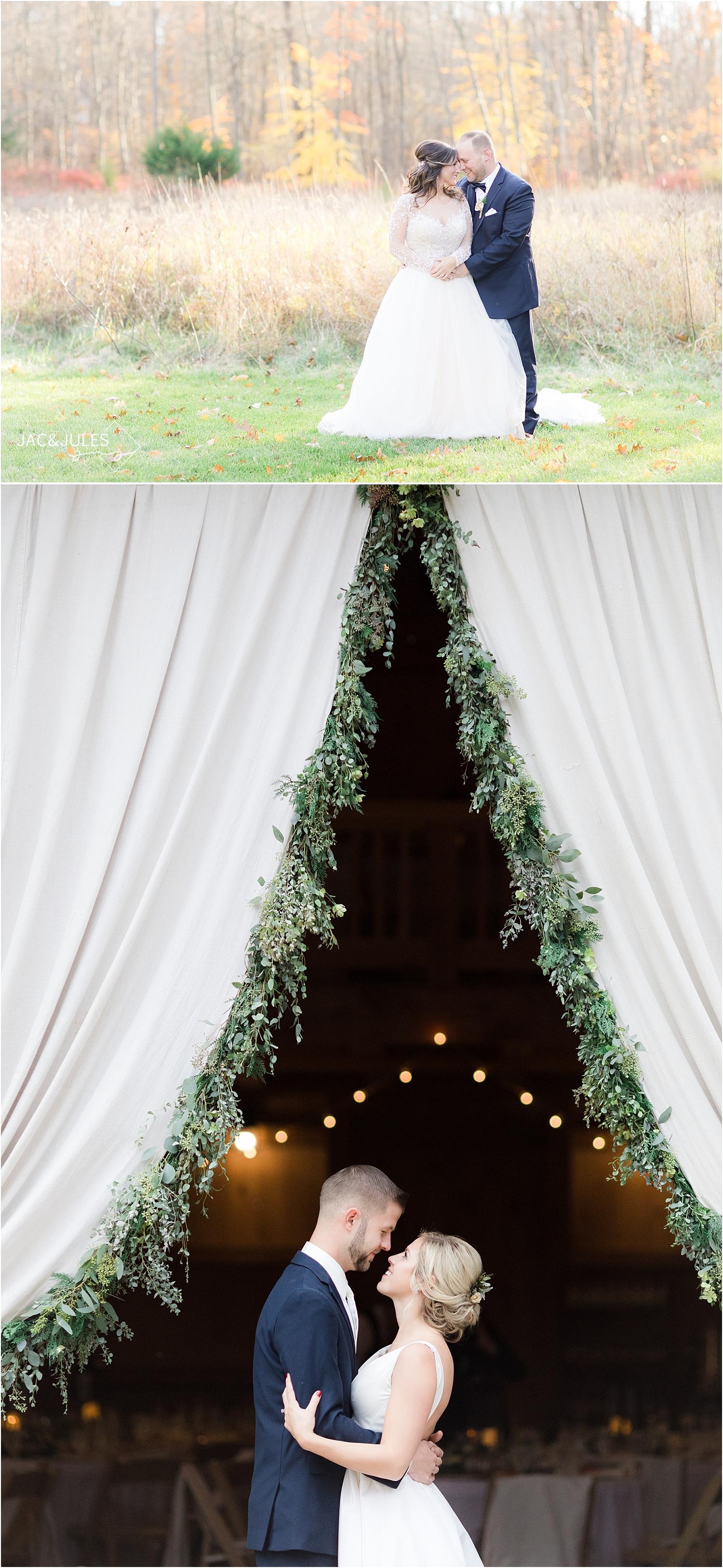 romantic wedding photo at Perona Farms