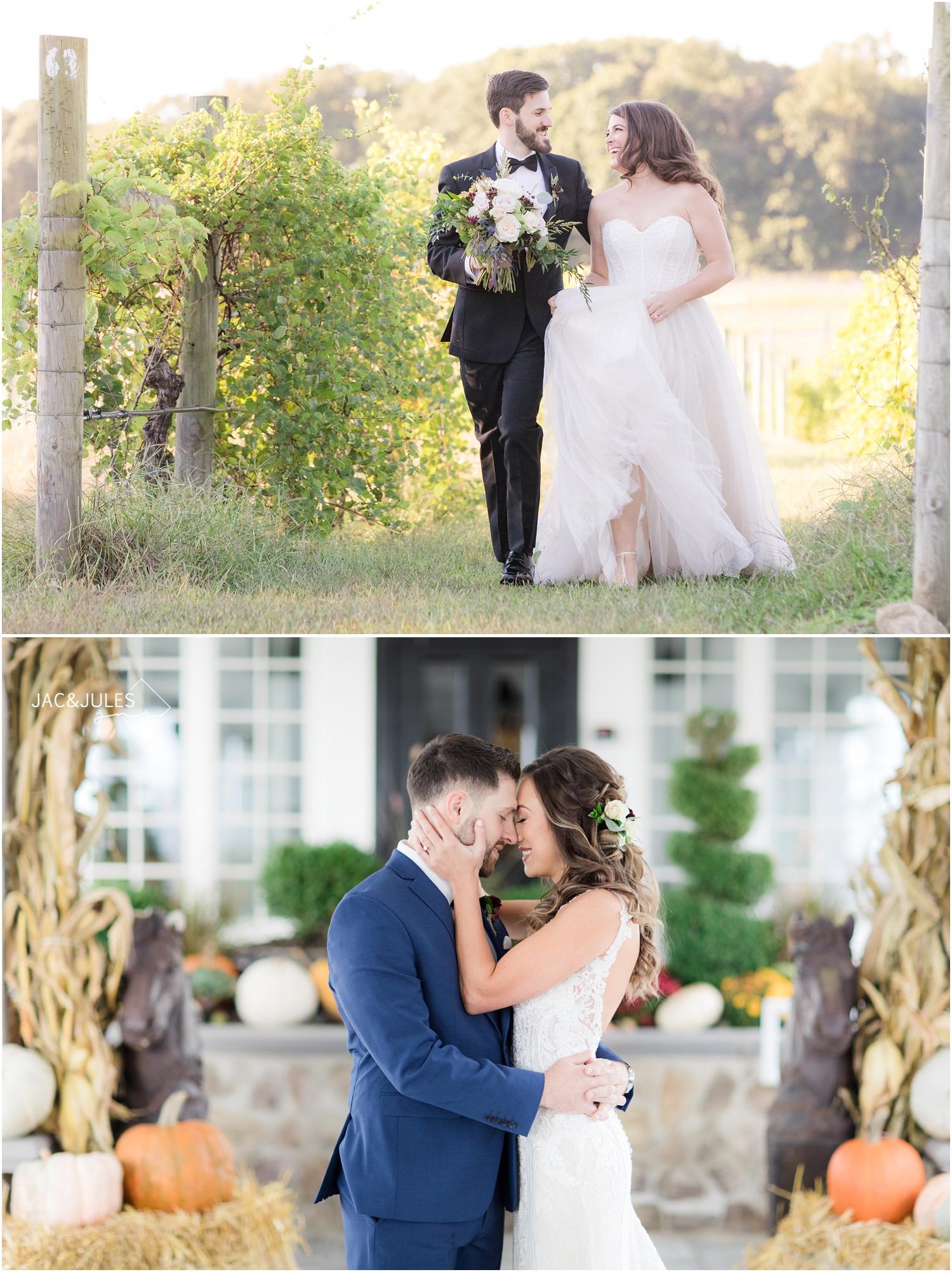 Fun winery wedding photo from Laurita Winery, and cozy fall Ryland Inn wedding photos.