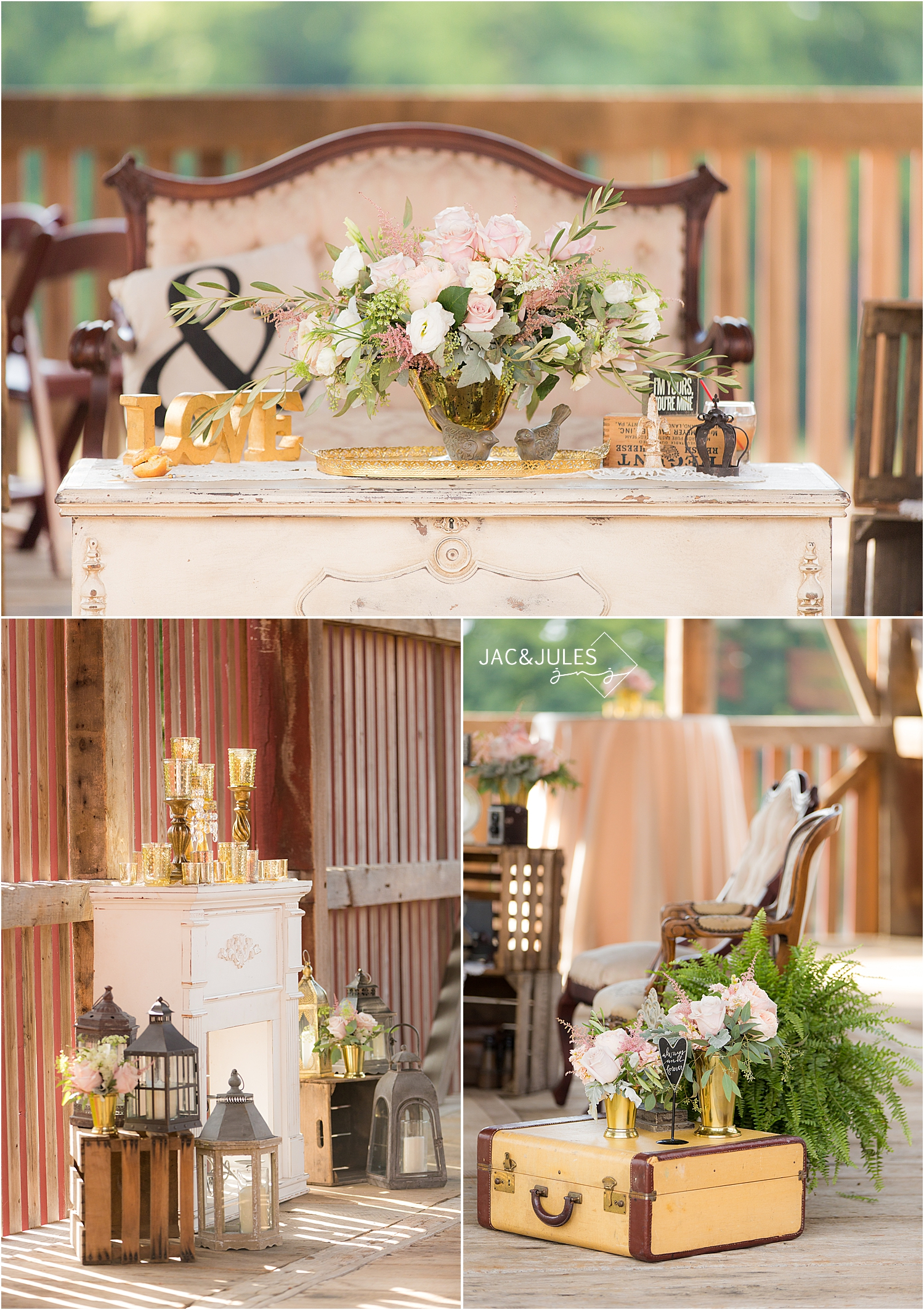vintage chic wedding details and furniture rentals at farm at eagles ridge