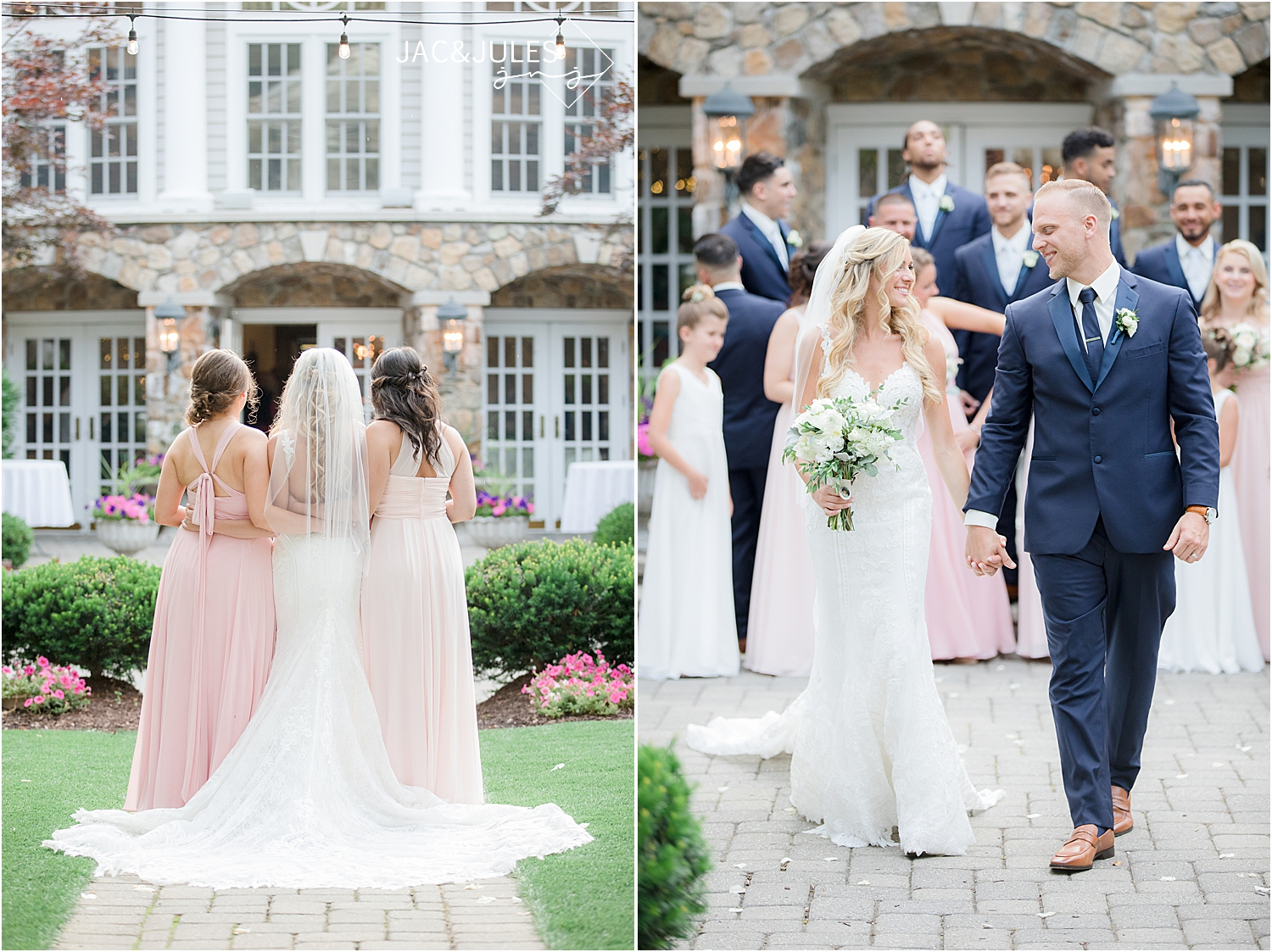 outdoor wedding at Olde Mill Inn of bride and bridesmaids