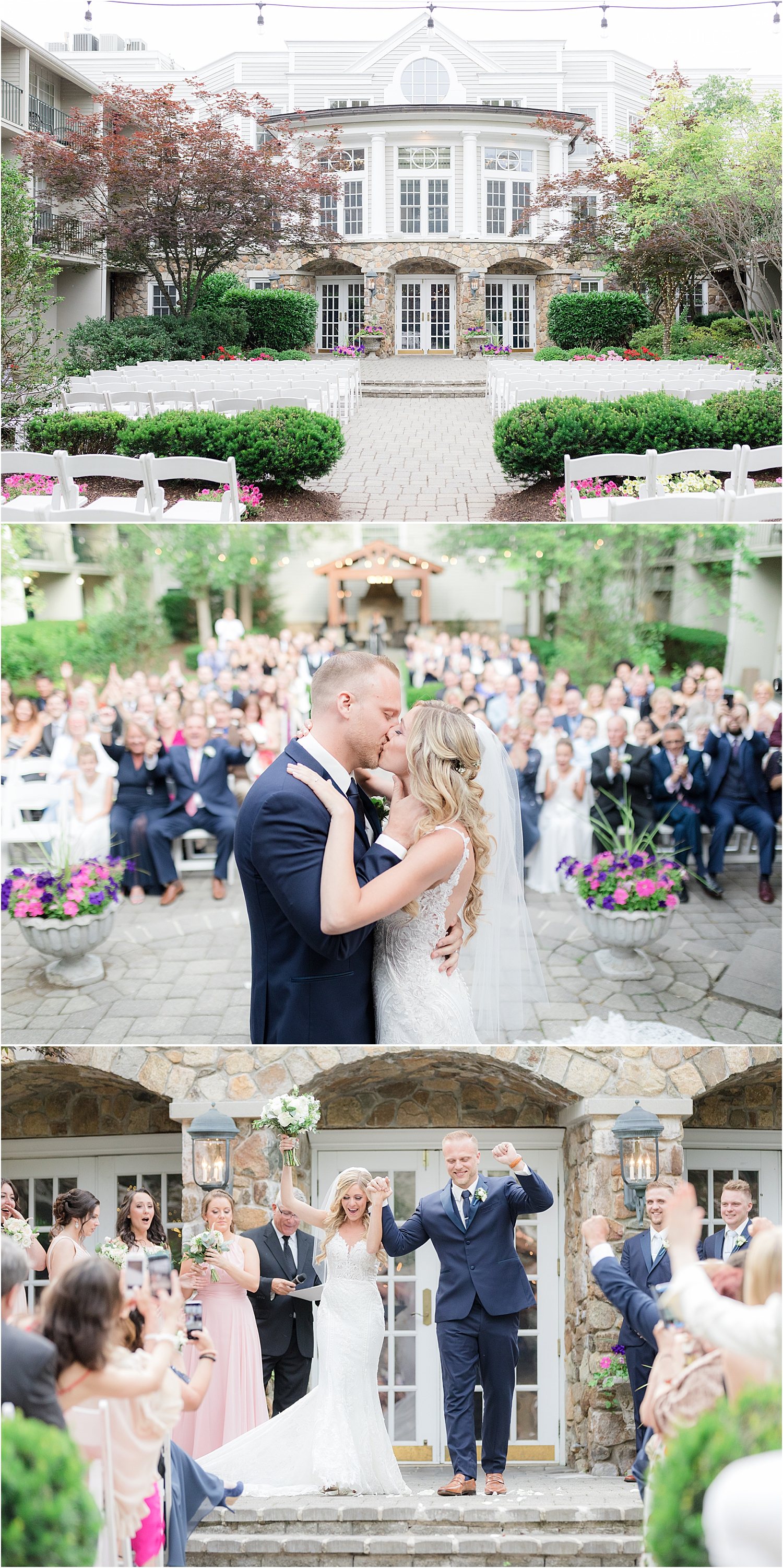 outdoor wedding ceremony photo at Olde Mill Inn in Basking Ridge
