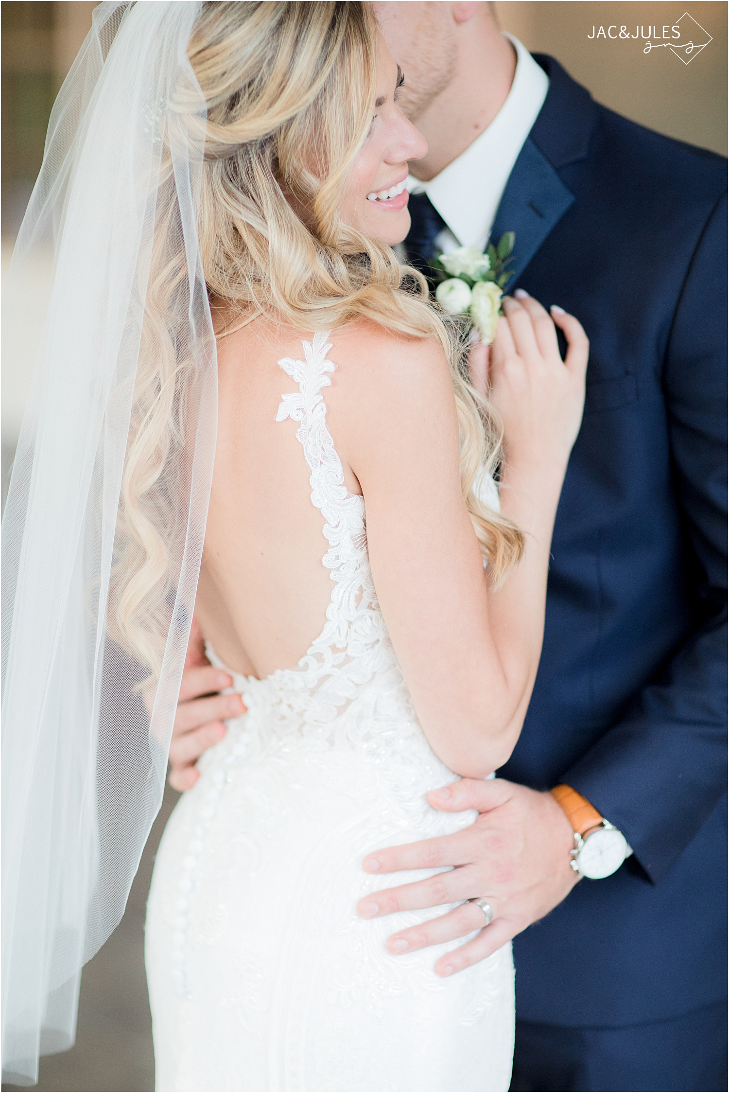 romantic nj wedding photo at Olde Mill Inn of wedding gown from i do i do in NJ
