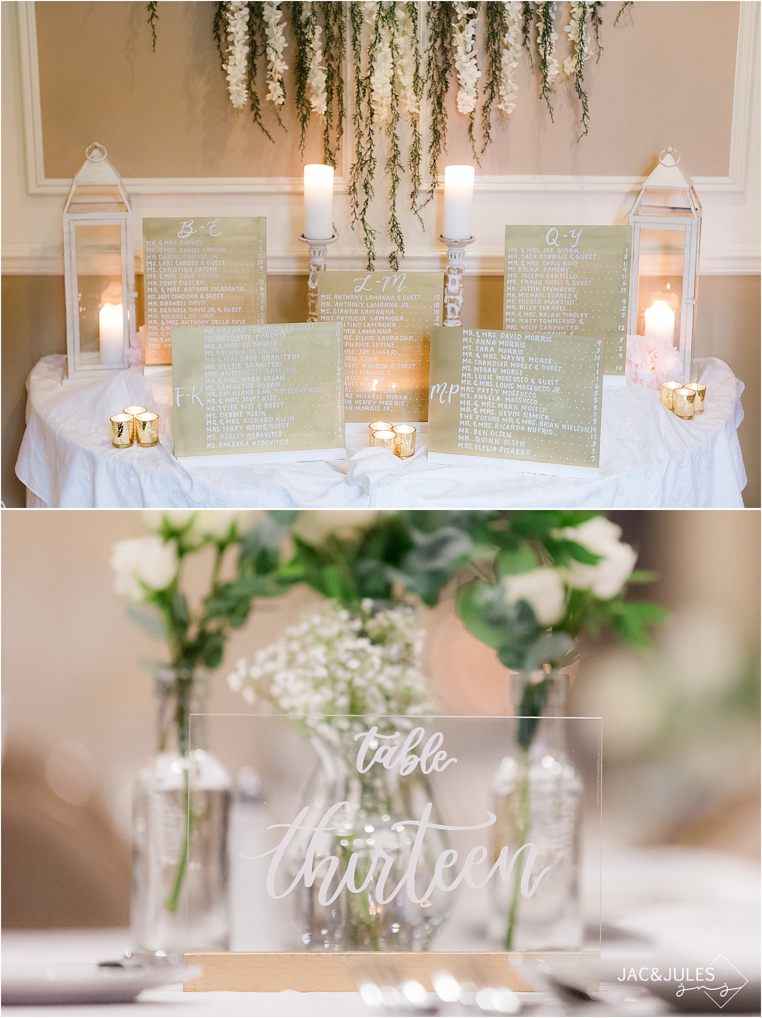 seating chart at Olde Mill Inn wedding