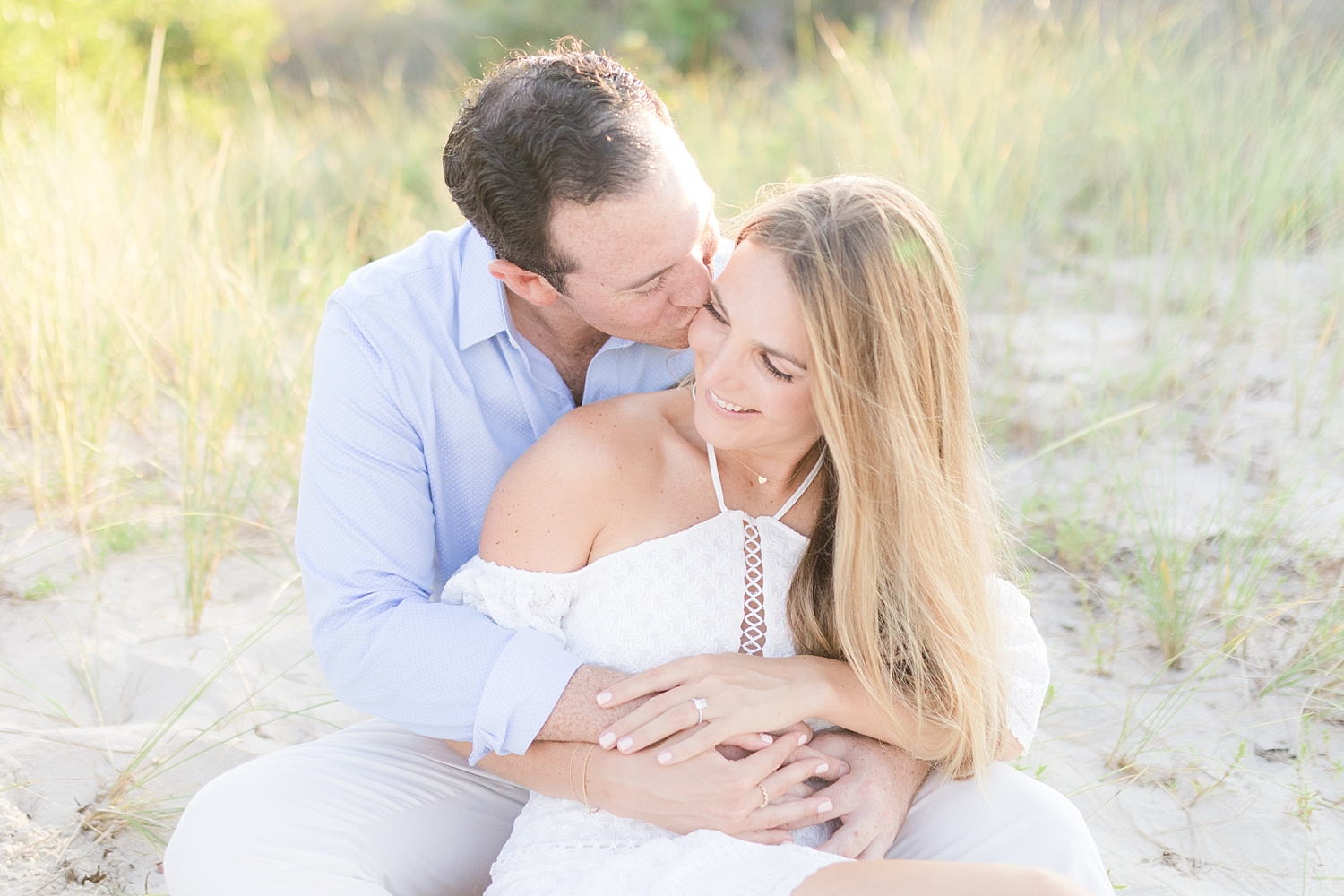 romantic beach engagement photo in island beach state park