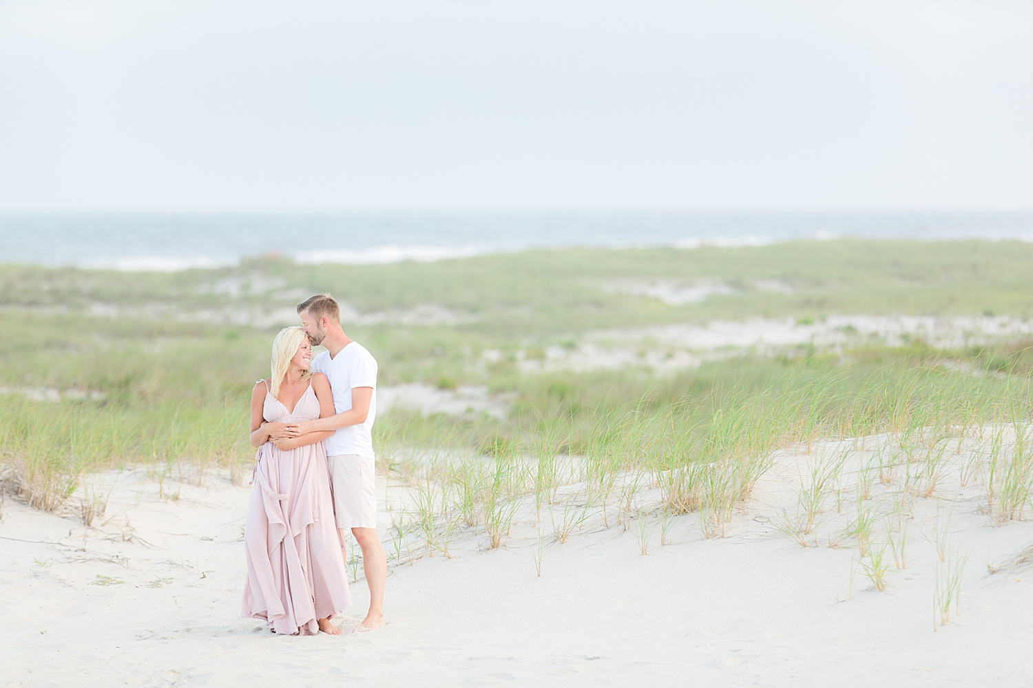 romantic natural light engagement photo on the beach in LBI