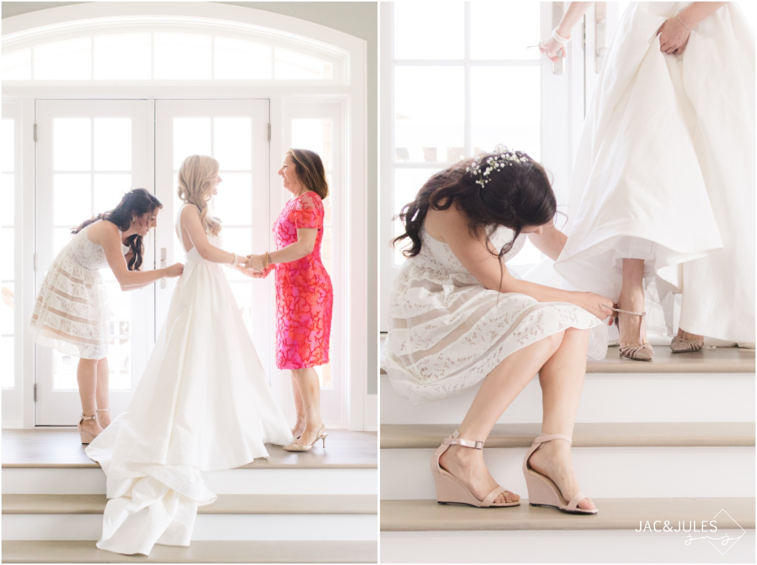 Mom and sister of the bride help her get dressed at home on the bay in Mantoloking, NJ.
